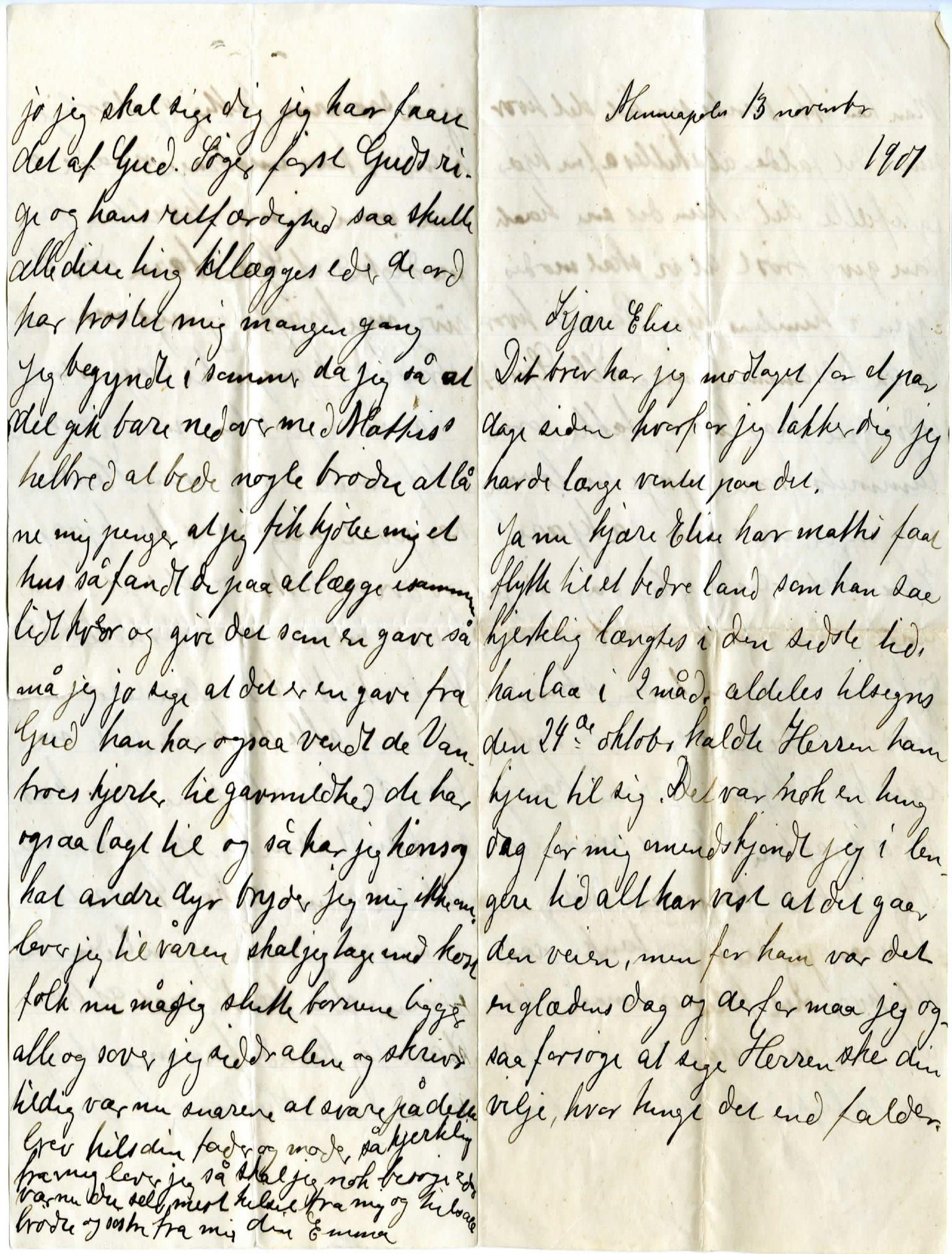 FMFB, Elise Balos brevsamling, F/Fb/L0002: Brev fra Emma Jokela til Elise Balo, 1901
