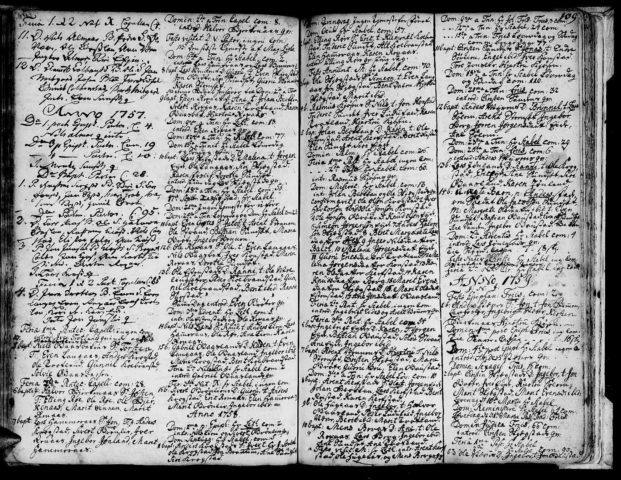 SAT, Ministerialprotokoller, klokkerbøker og fødselsregistre - Sør-Trøndelag, 691/L1060: Ministerialbok nr. 691A01 /4, 1740-1767, s. 109