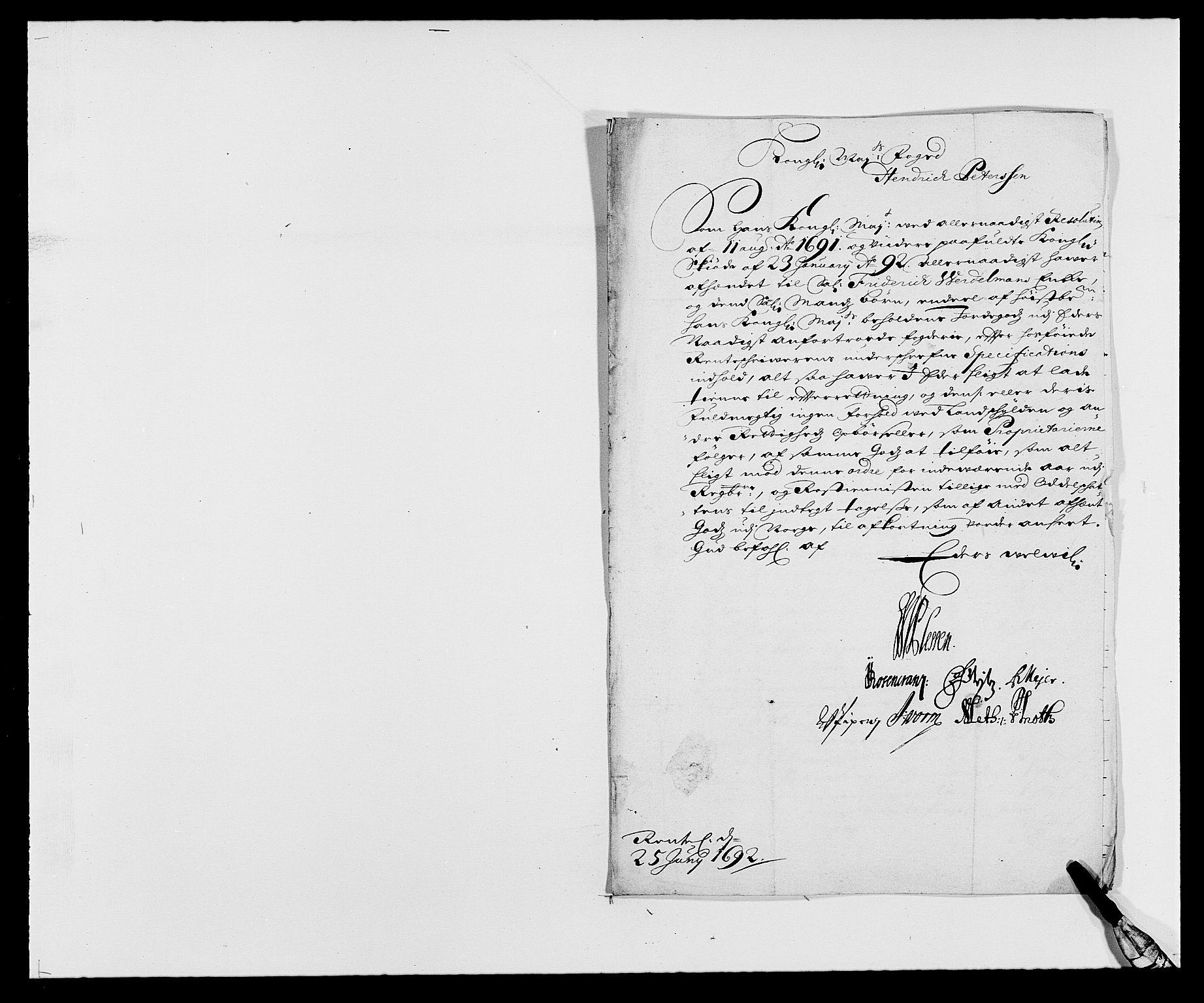 RA, Rentekammeret inntil 1814, Reviderte regnskaper, Fogderegnskap, R21/L1449: Fogderegnskap Ringerike og Hallingdal, 1690-1692, s. 1