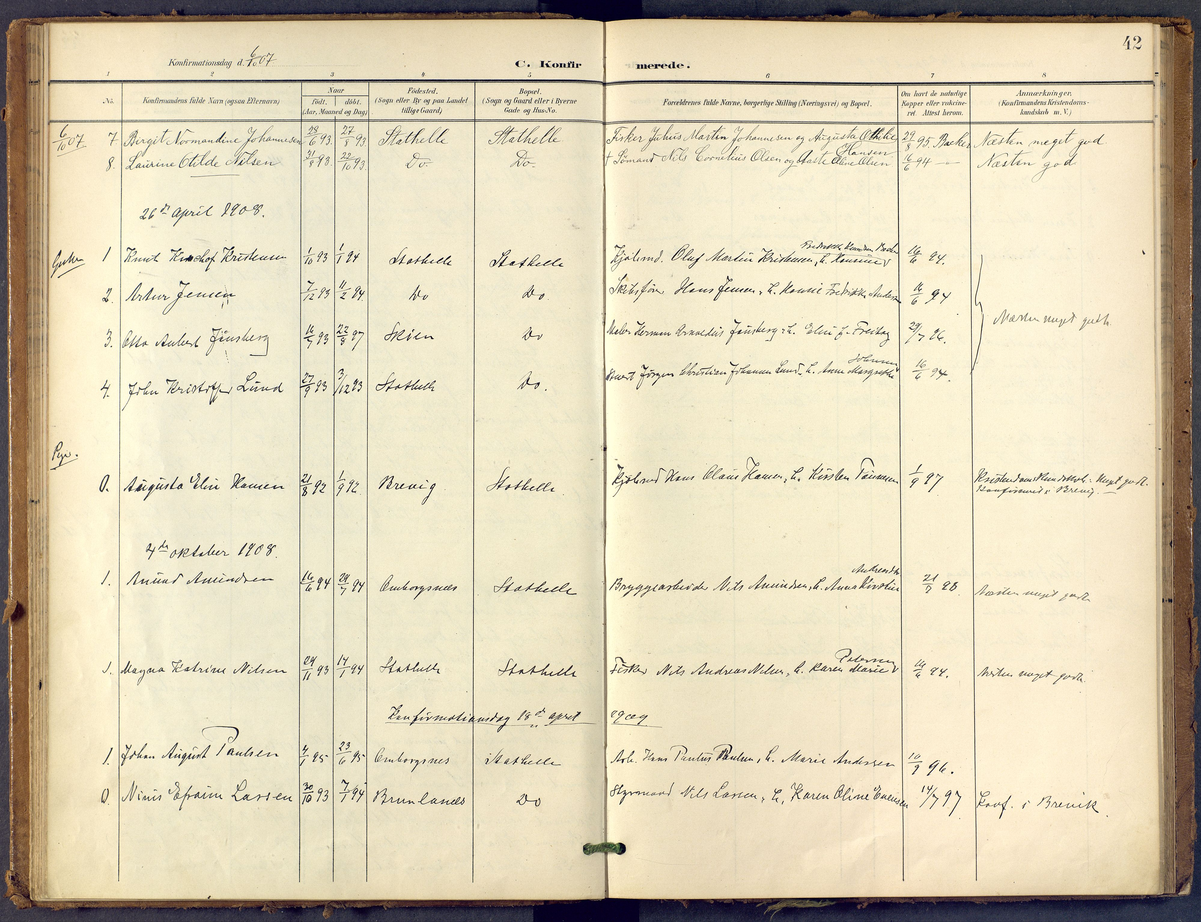 SAKO, Bamble kirkebøker, F/Fb/L0002: Ministerialbok nr. II 2, 1900-1921, s. 42