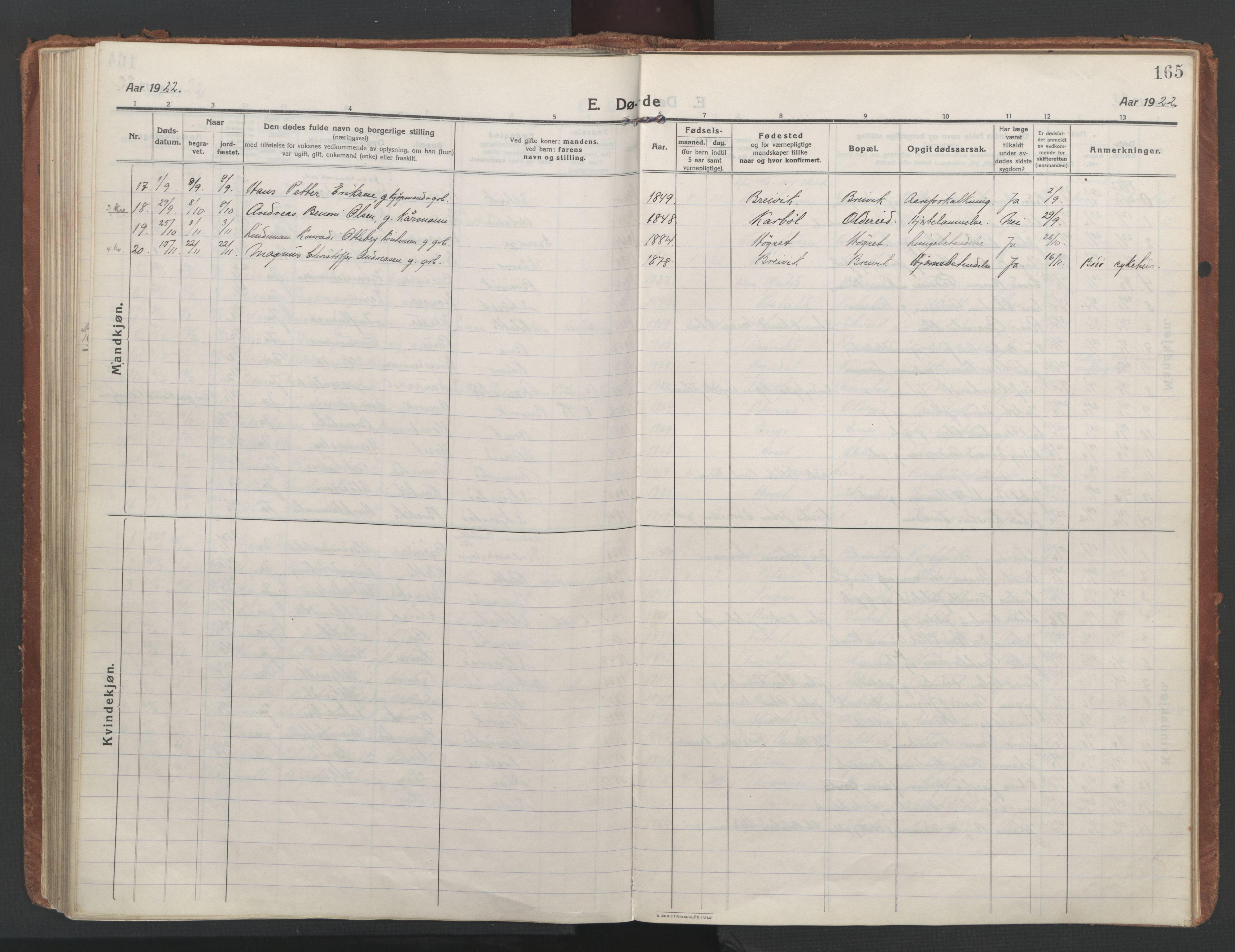 SAT, Ministerialprotokoller, klokkerbøker og fødselsregistre - Nordland, 852/L0748: Ministerialbok nr. 852A18, 1913-1932, s. 165