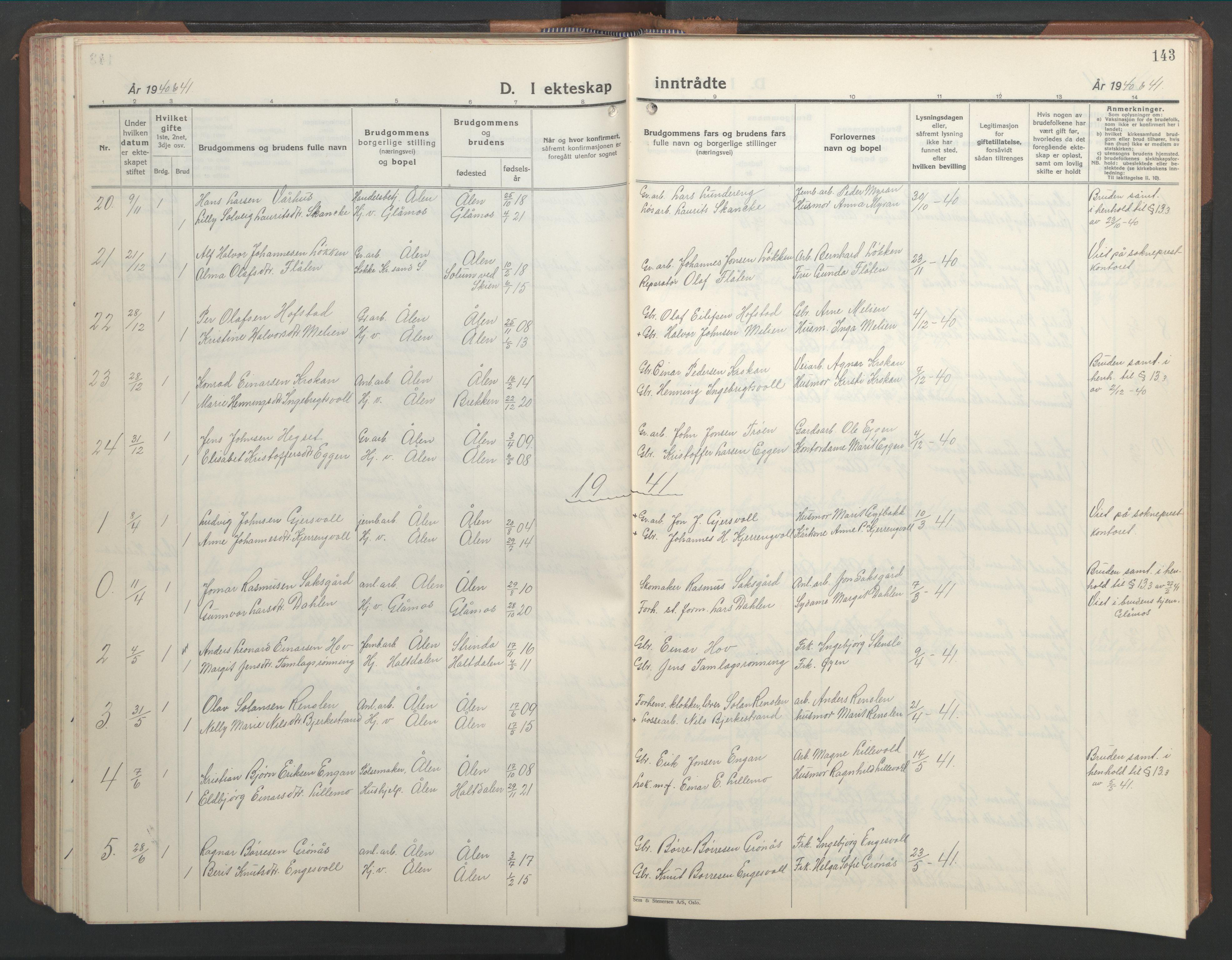 SAT, Ministerialprotokoller, klokkerbøker og fødselsregistre - Sør-Trøndelag, 686/L0986: Klokkerbok nr. 686C02, 1933-1950, s. 143