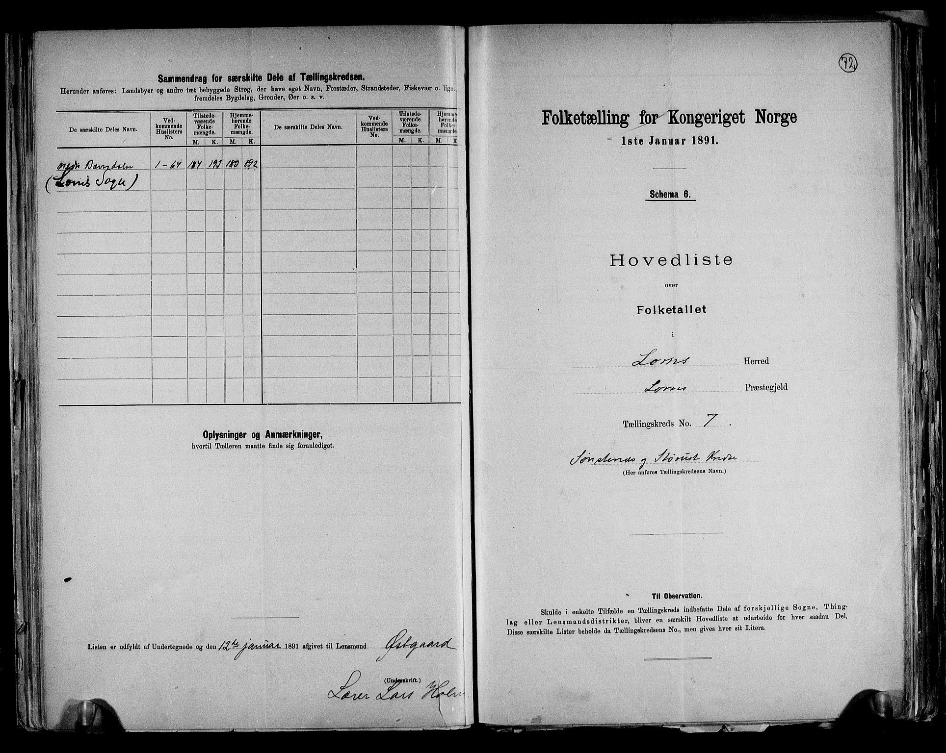 RA, Folketelling 1891 for 0514 Lom herred, 1891, s. 16