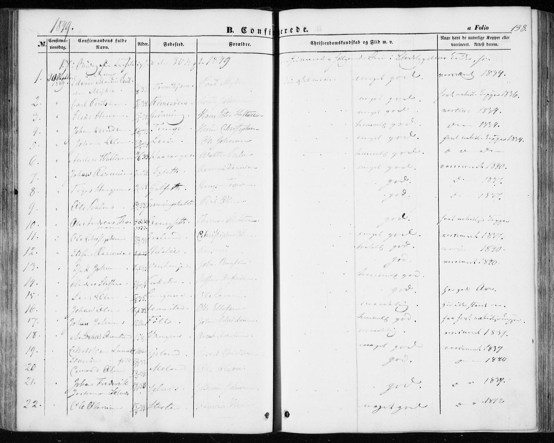 SAT, Ministerialprotokoller, klokkerbøker og fødselsregistre - Sør-Trøndelag, 646/L0611: Ministerialbok nr. 646A09, 1848-1857, s. 158