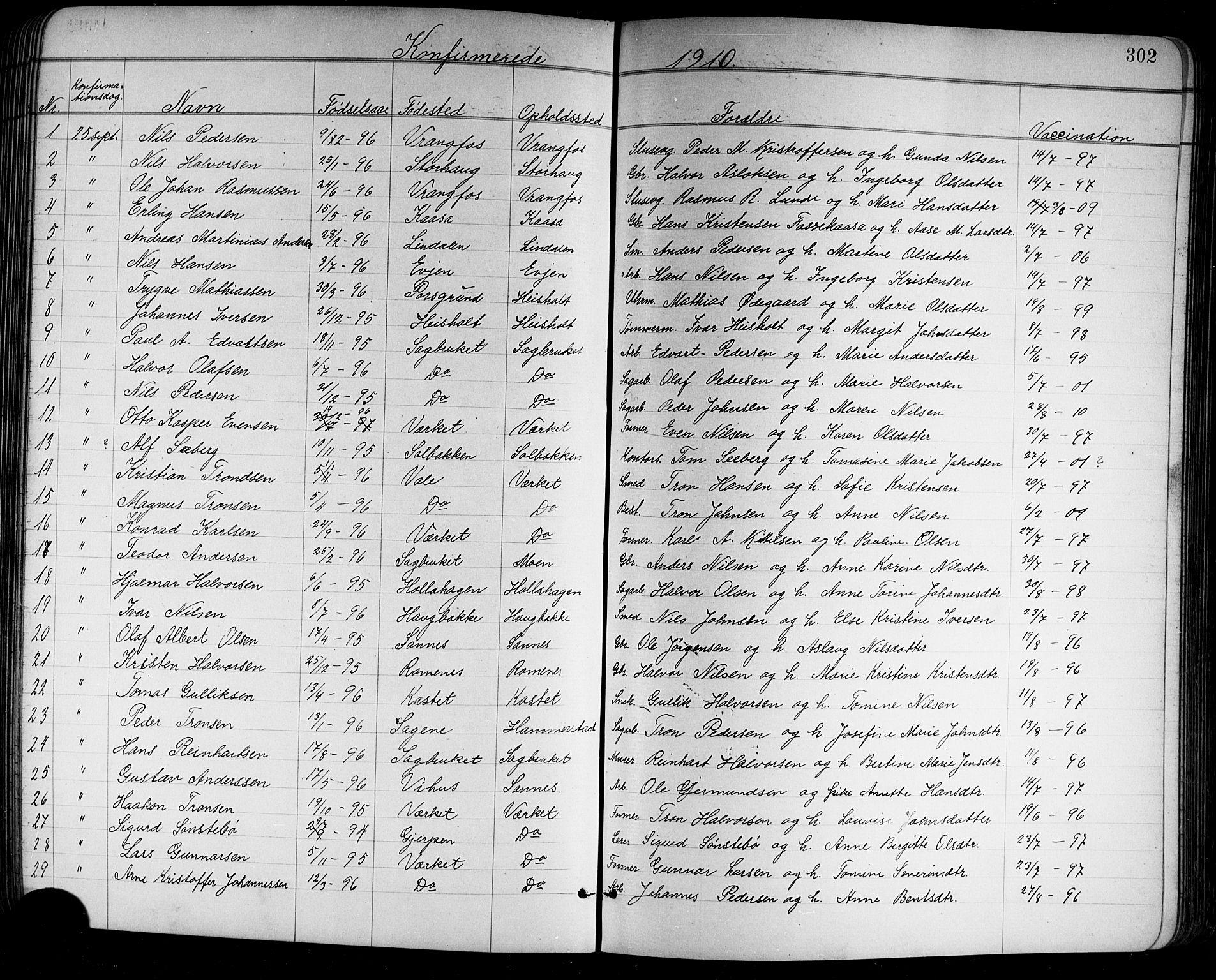 SAKO, Holla kirkebøker, G/Ga/L0005: Klokkerbok nr. I 5, 1891-1917, s. 302