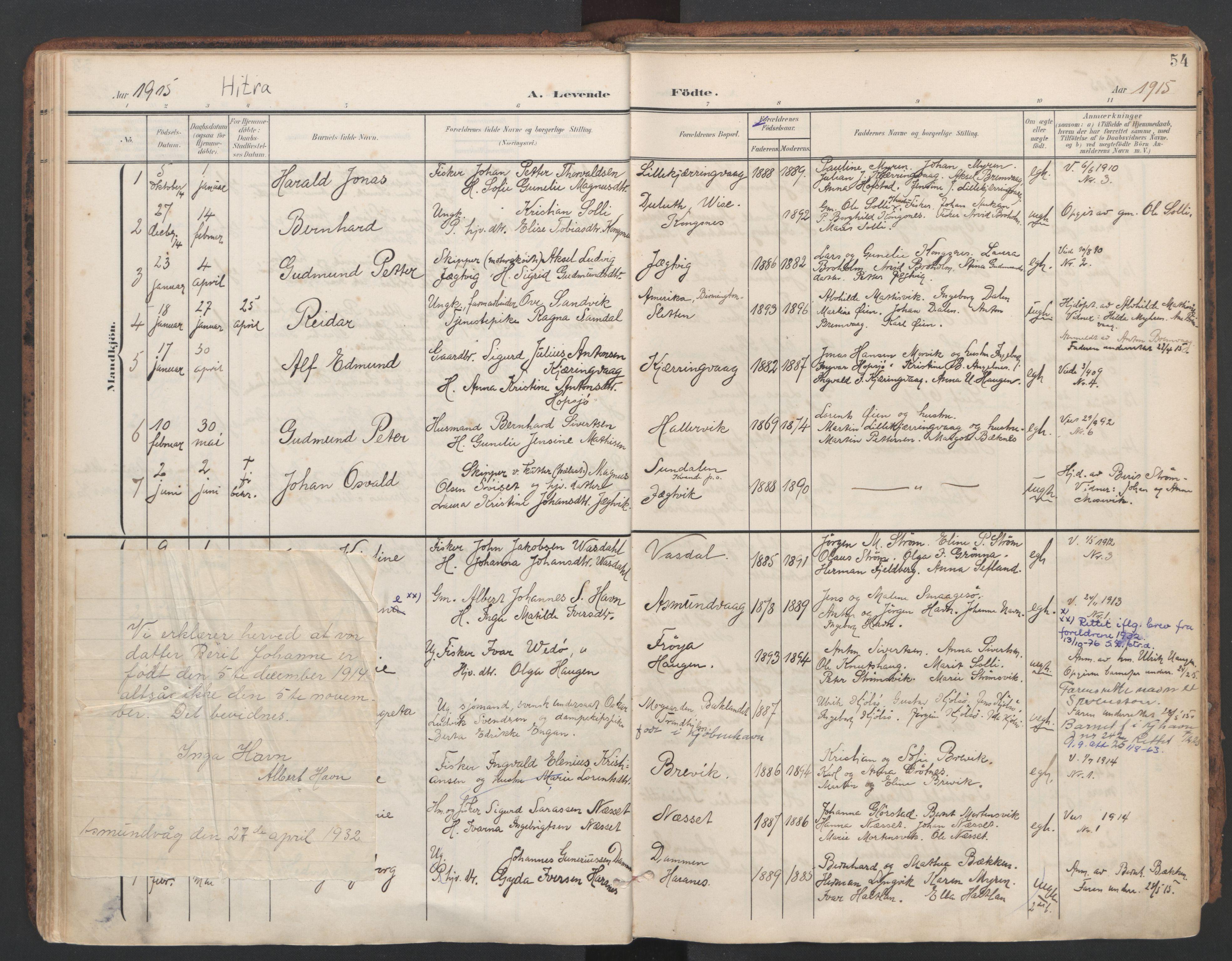 SAT, Ministerialprotokoller, klokkerbøker og fødselsregistre - Sør-Trøndelag, 634/L0537: Ministerialbok nr. 634A13, 1896-1922, s. 54