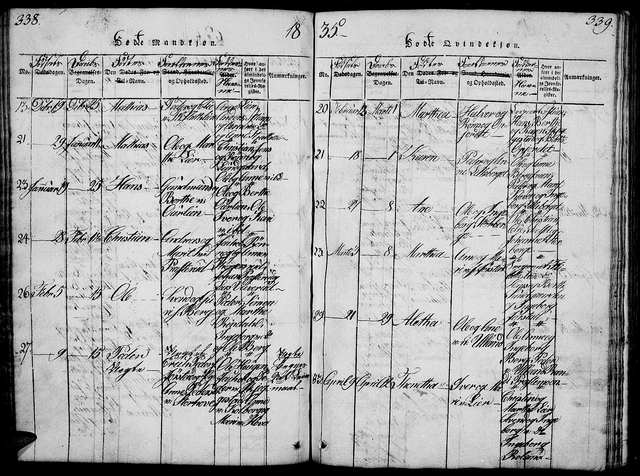 SAH, Fåberg prestekontor, H/Ha/Hab/L0004: Klokkerbok nr. 4, 1818-1837, s. 338-339