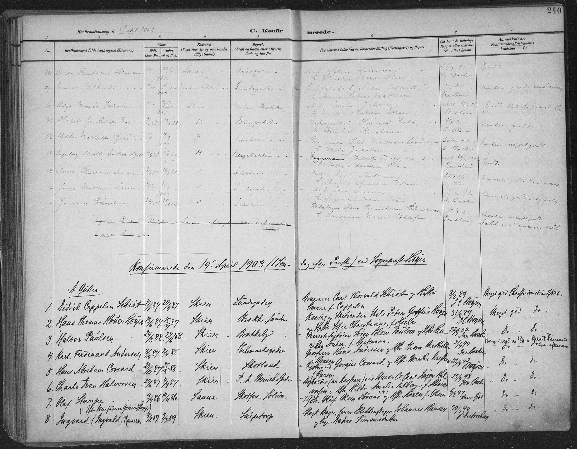 SAKO, Skien kirkebøker, F/Fa/L0011: Ministerialbok nr. 11, 1900-1907, s. 240