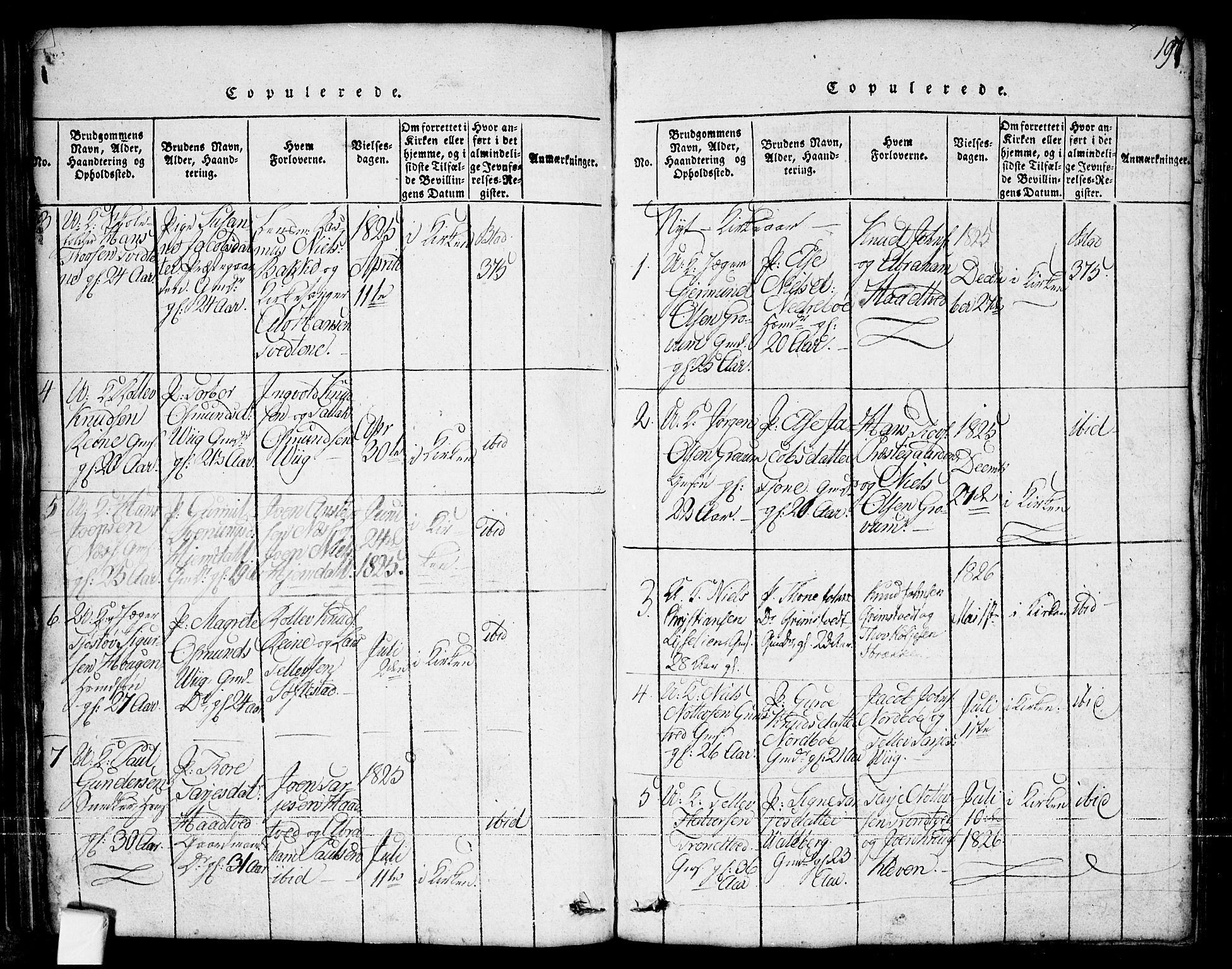 SAKO, Nissedal kirkebøker, G/Ga/L0001: Klokkerbok nr. I 1, 1814-1860, s. 197