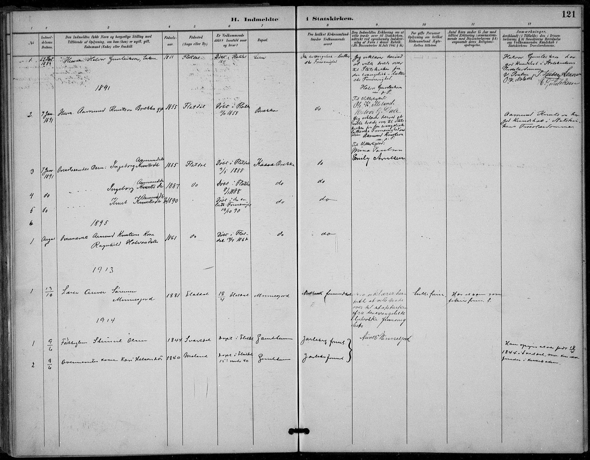 SAKO, Seljord kirkebøker, F/Fb/L0002: Ministerialbok nr. II 2, 1887-1917, s. 121