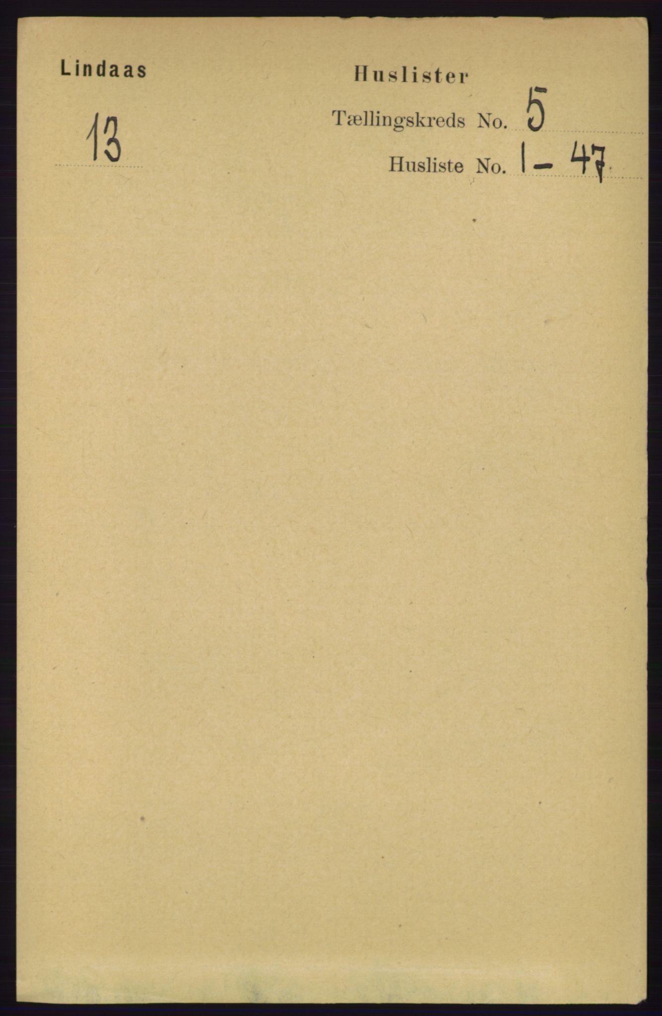 RA, Folketelling 1891 for 1263 Lindås herred, 1891, s. 1395