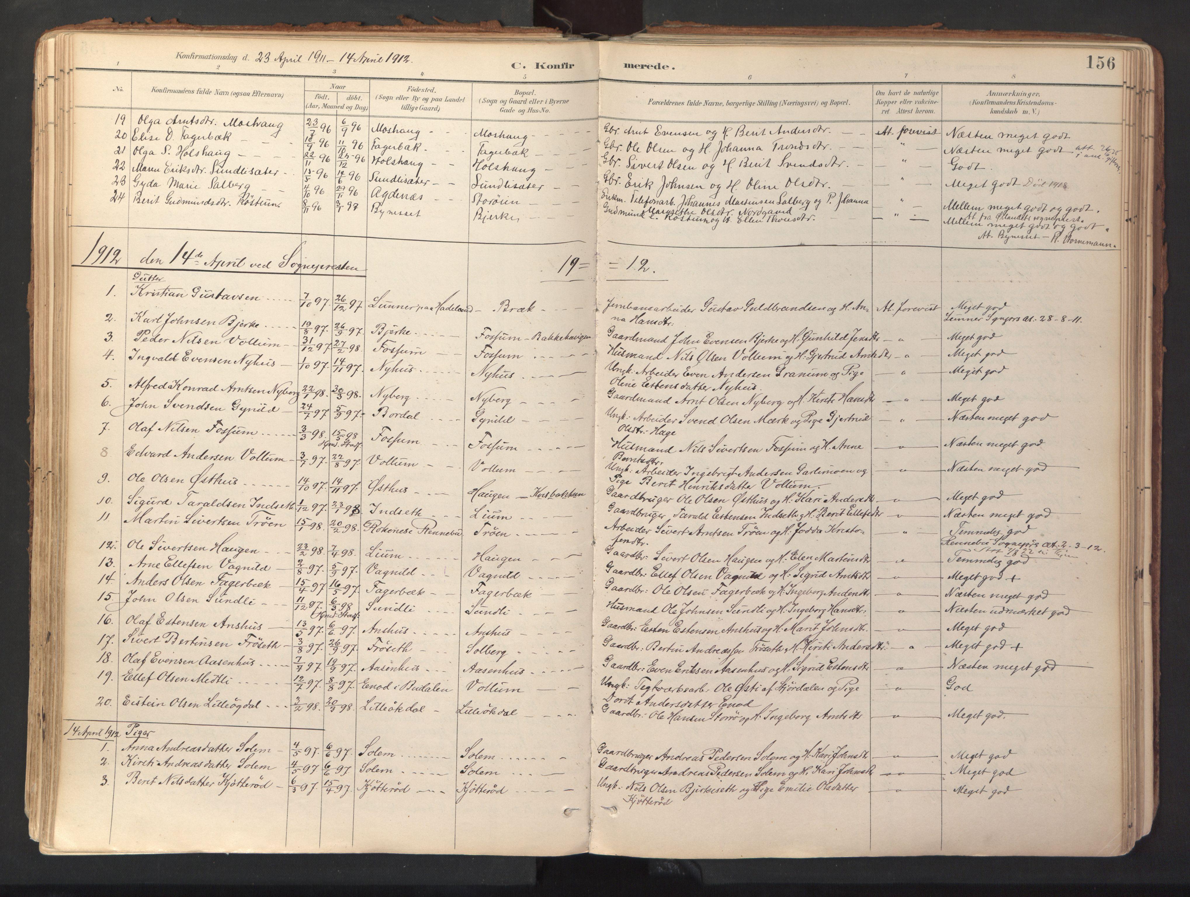 SAT, Ministerialprotokoller, klokkerbøker og fødselsregistre - Sør-Trøndelag, 689/L1041: Ministerialbok nr. 689A06, 1891-1923, s. 156