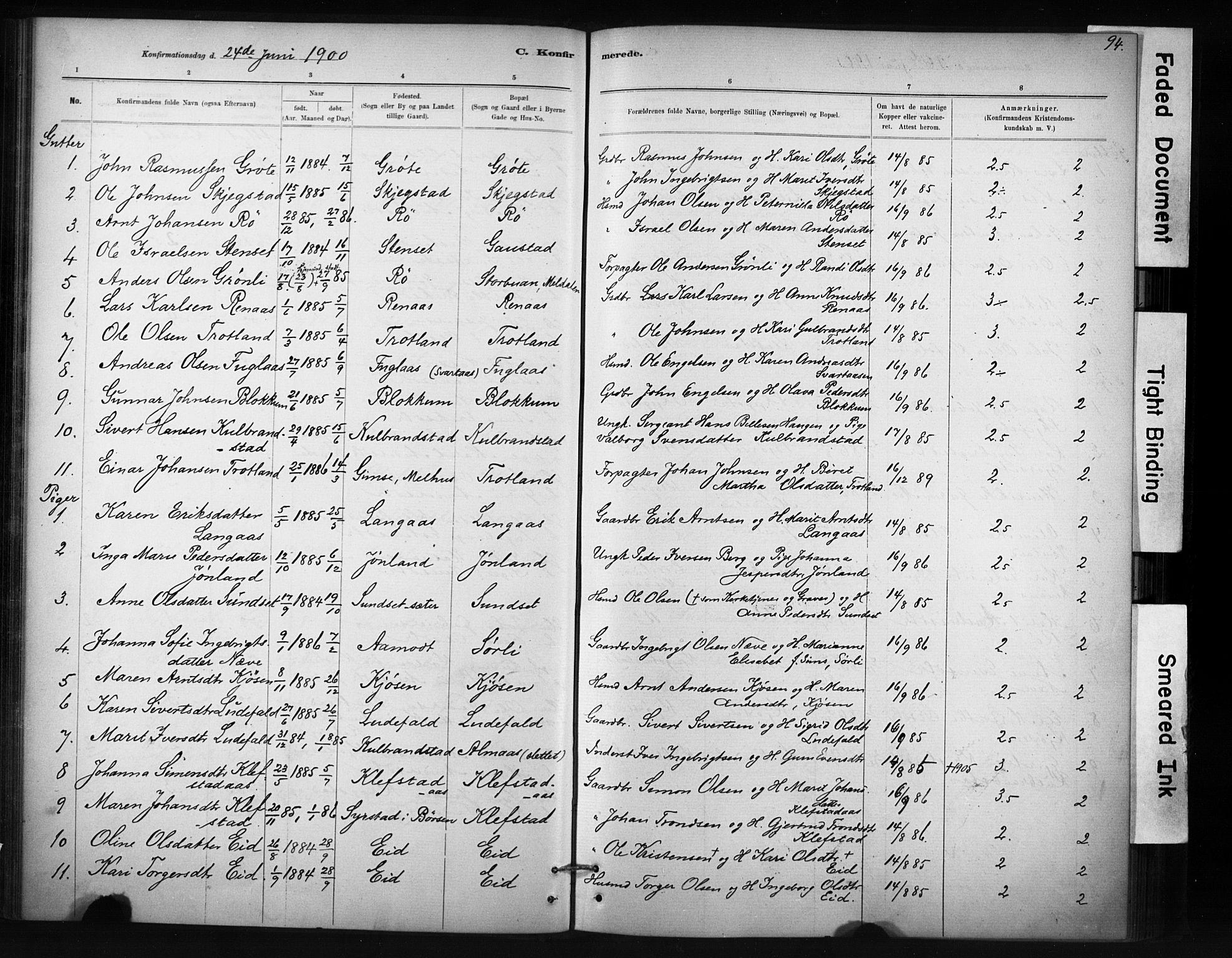 SAT, Ministerialprotokoller, klokkerbøker og fødselsregistre - Sør-Trøndelag, 694/L1127: Ministerialbok nr. 694A01, 1887-1905, s. 94
