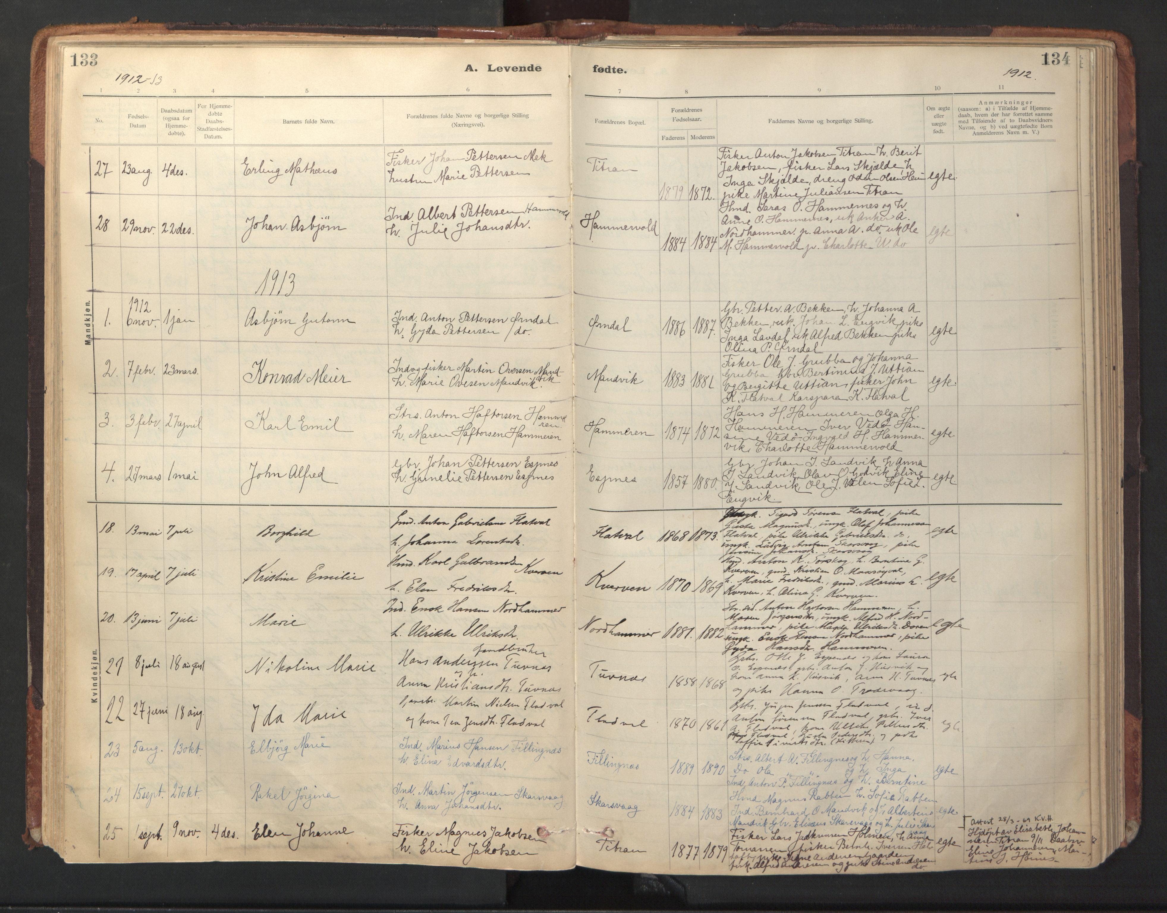 SAT, Ministerialprotokoller, klokkerbøker og fødselsregistre - Sør-Trøndelag, 641/L0596: Ministerialbok nr. 641A02, 1898-1915, s. 133-134