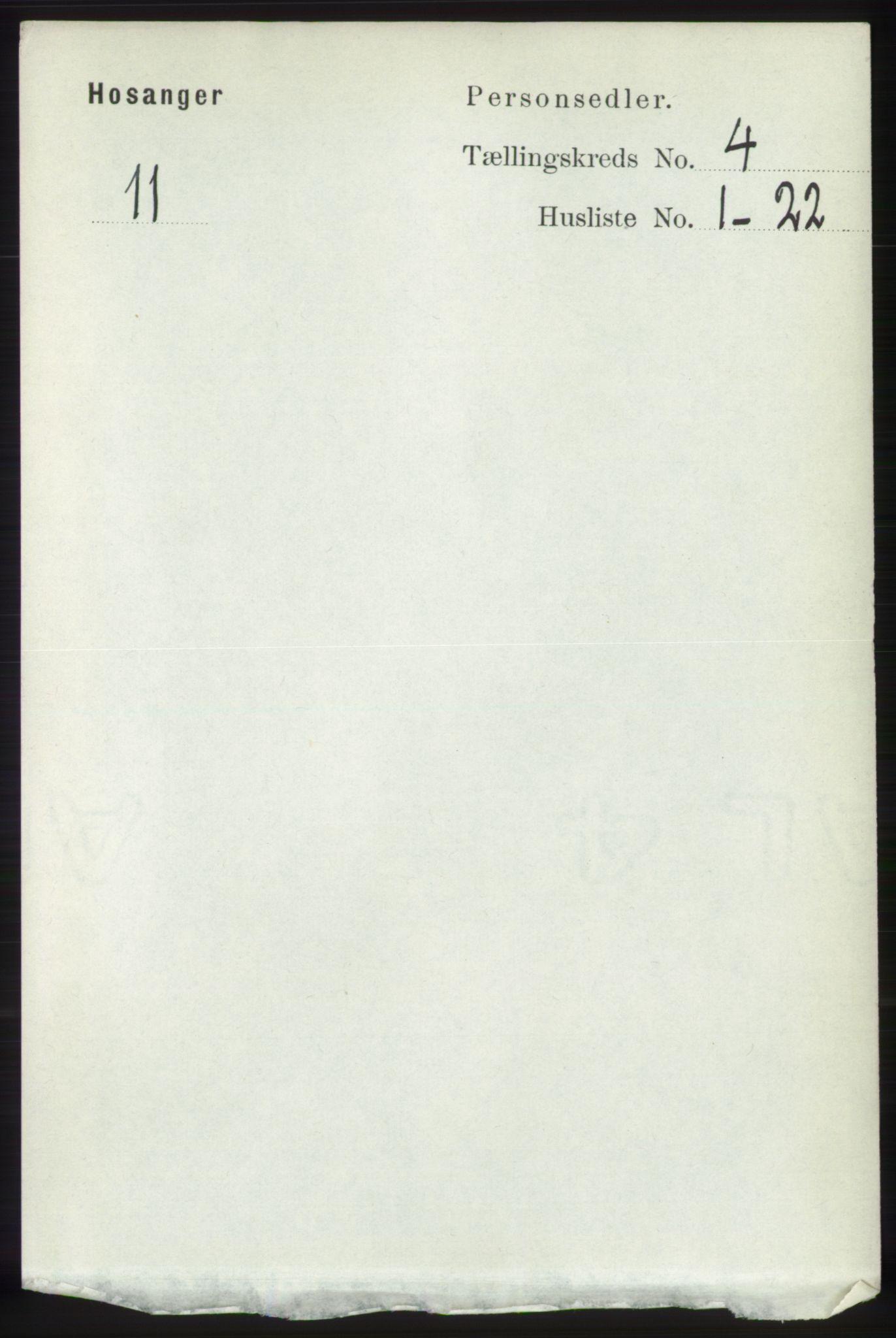 RA, Folketelling 1891 for 1253 Hosanger herred, 1891, s. 1439