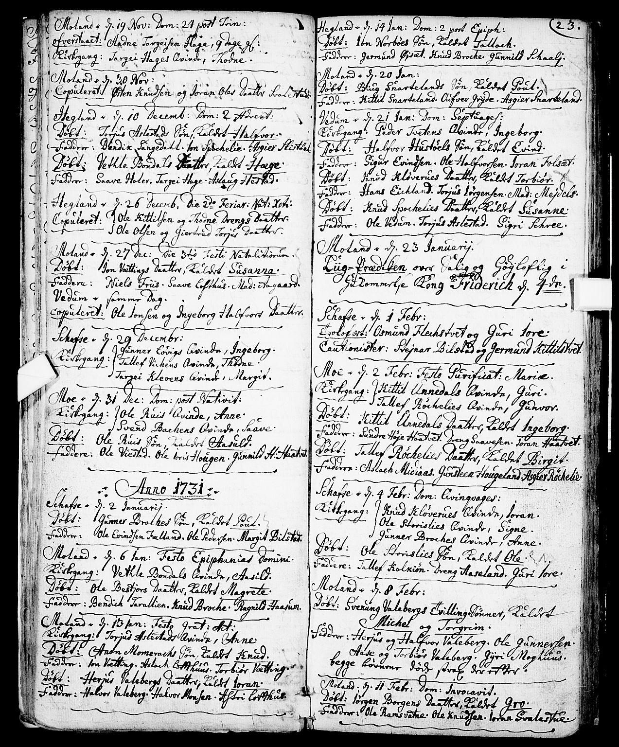 SAKO, Fyresdal kirkebøker, F/Fa/L0001: Ministerialbok nr. I 1, 1724-1748, s. 23