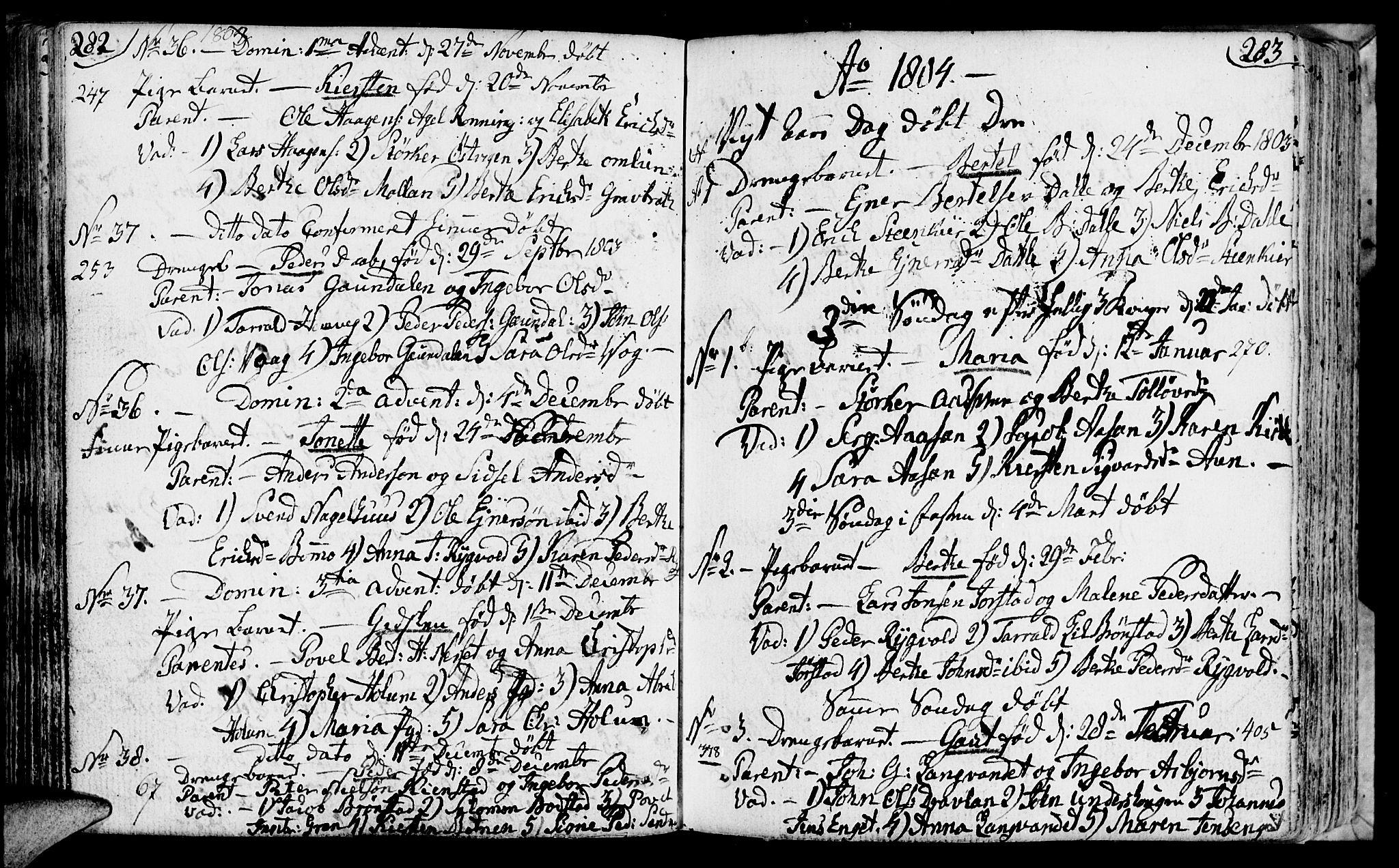 SAT, Ministerialprotokoller, klokkerbøker og fødselsregistre - Nord-Trøndelag, 749/L0468: Ministerialbok nr. 749A02, 1787-1817, s. 282-283