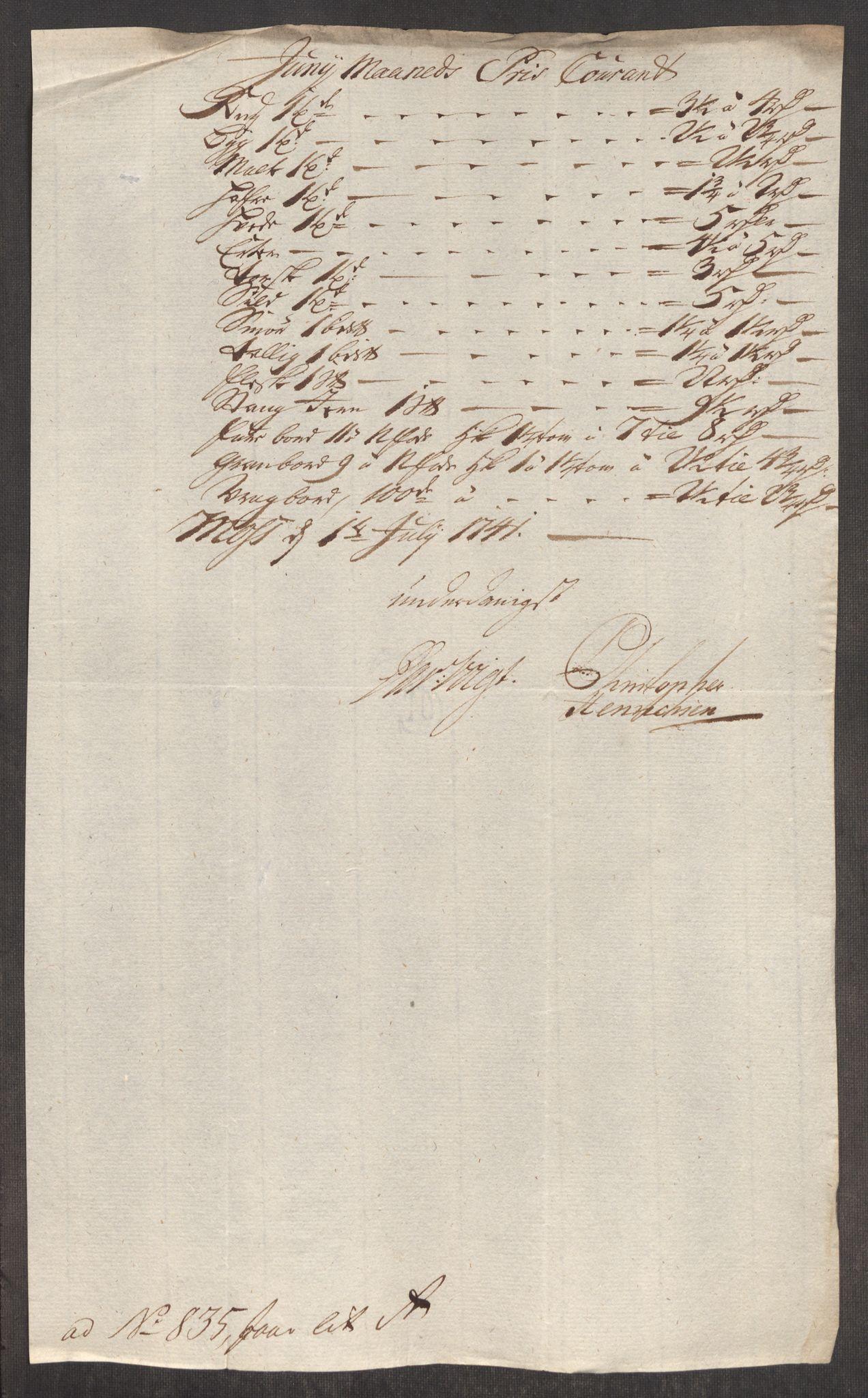 RA, Rentekammeret inntil 1814, Realistisk ordnet avdeling, Oe/L0002: [Ø1]: Priskuranter, 1740-1744, s. 217