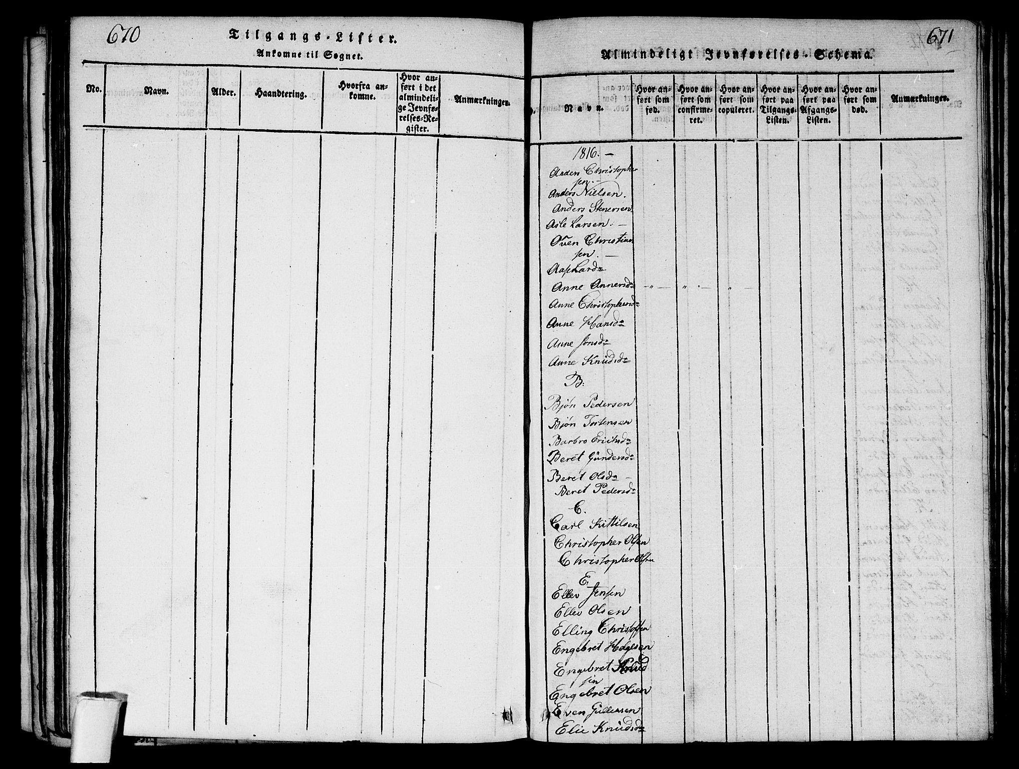SAKO, Sigdal kirkebøker, G/Ga/L0001: Klokkerbok nr. I 1 /1, 1816-1835, s. 670-671