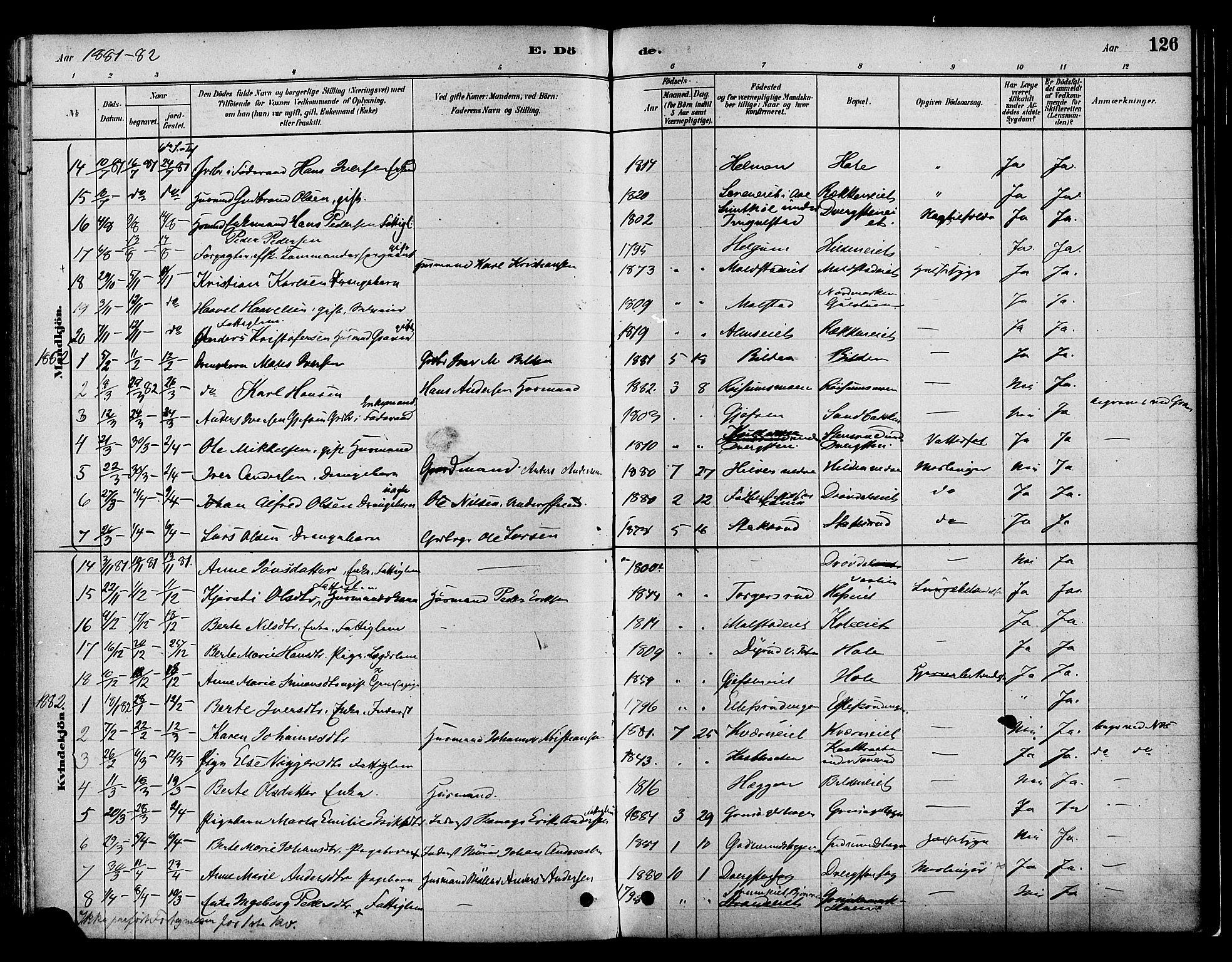 SAH, Gran prestekontor, Ministerialbok nr. 16, 1880-1888, s. 126
