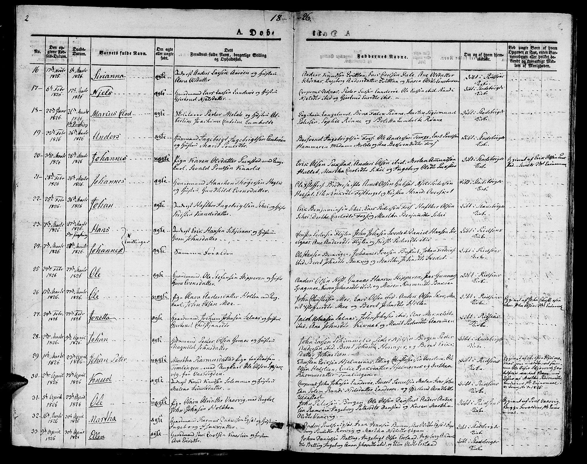 SAT, Ministerialprotokoller, klokkerbøker og fødselsregistre - Sør-Trøndelag, 646/L0609: Ministerialbok nr. 646A07, 1826-1838, s. 2