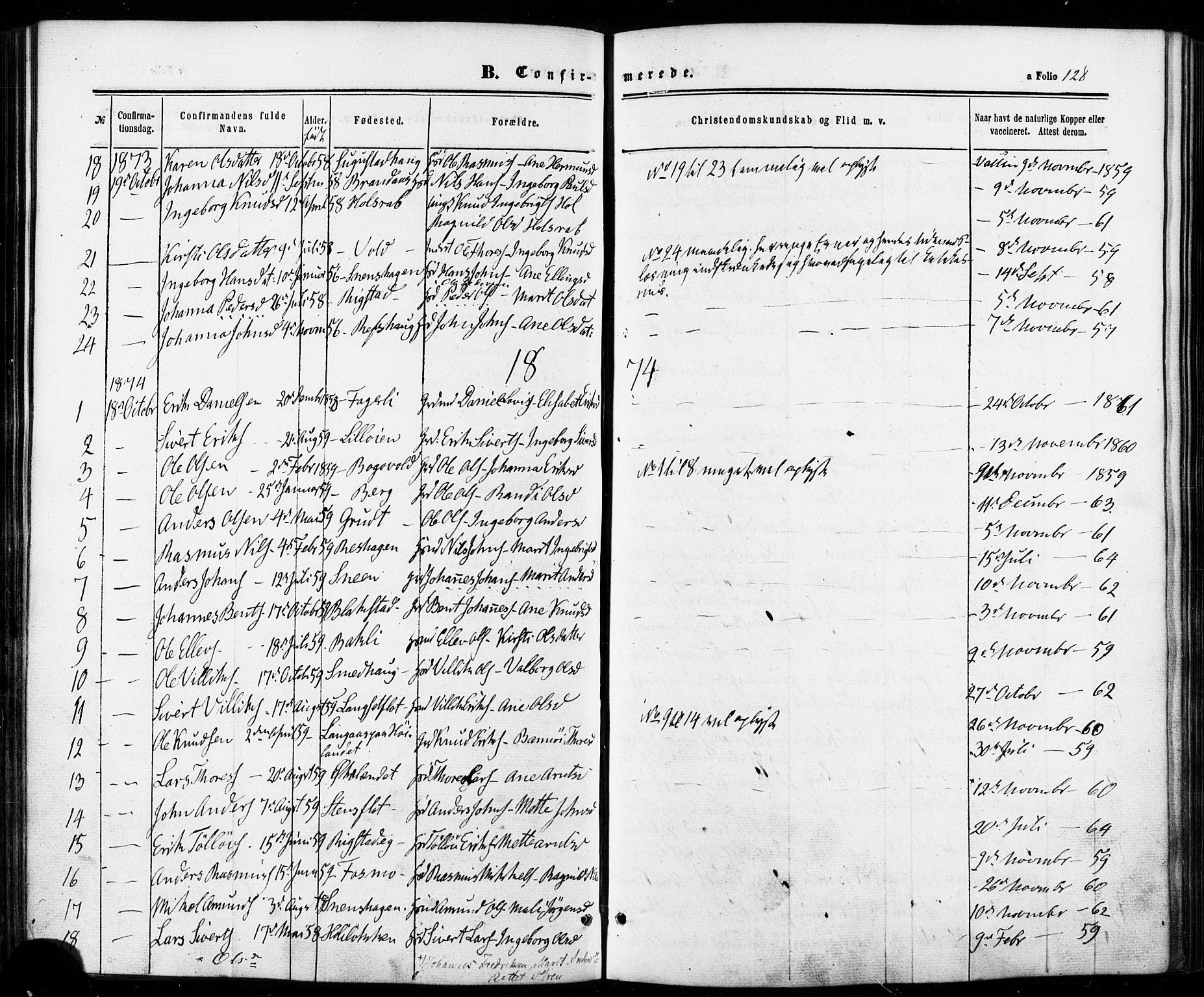 SAT, Ministerialprotokoller, klokkerbøker og fødselsregistre - Sør-Trøndelag, 672/L0856: Ministerialbok nr. 672A08, 1861-1881, s. 128