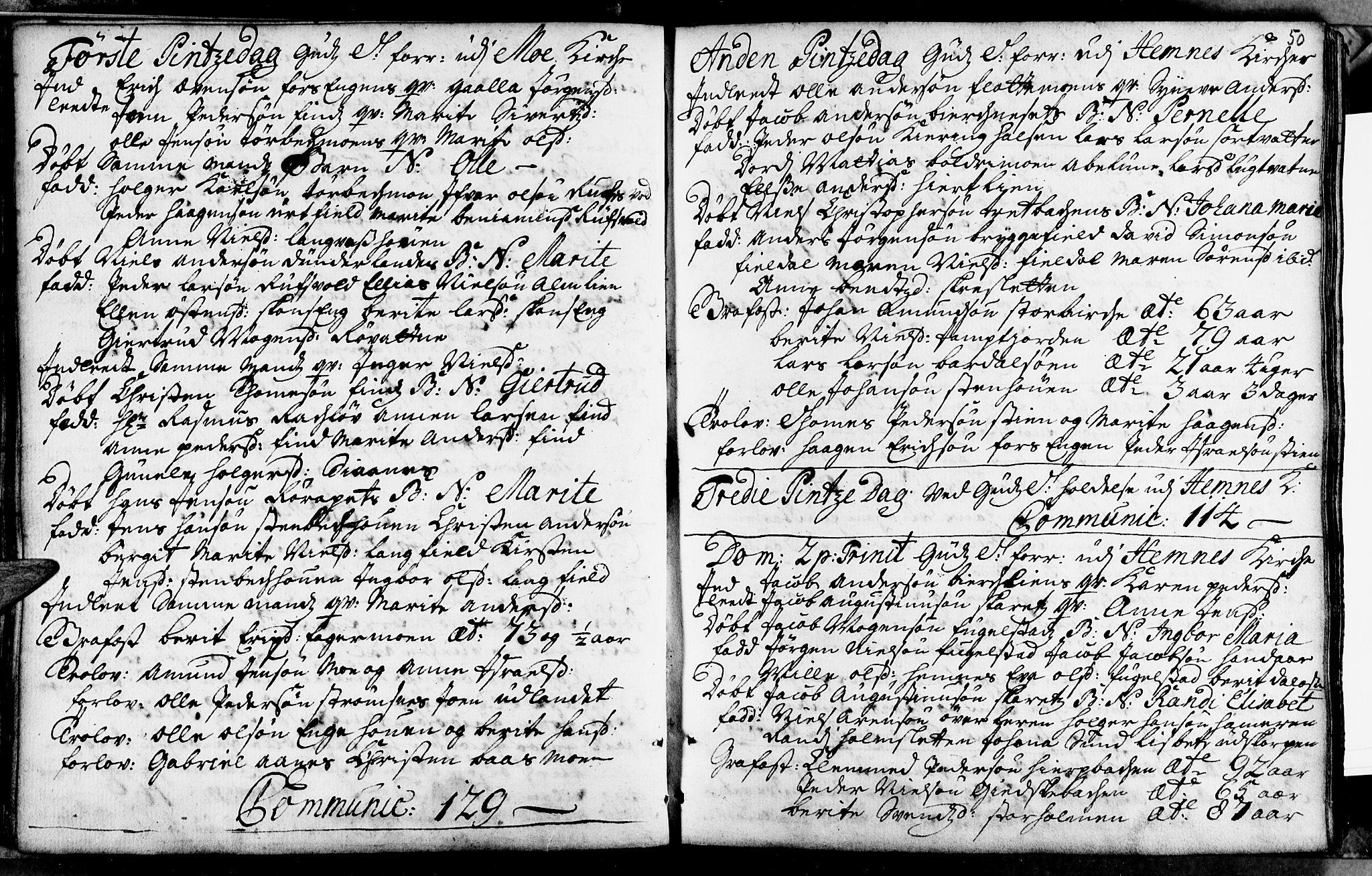 SAT, Ministerialprotokoller, klokkerbøker og fødselsregistre - Nordland, 825/L0346: Ministerialbok nr. 825A02, 1729-1748, s. 50