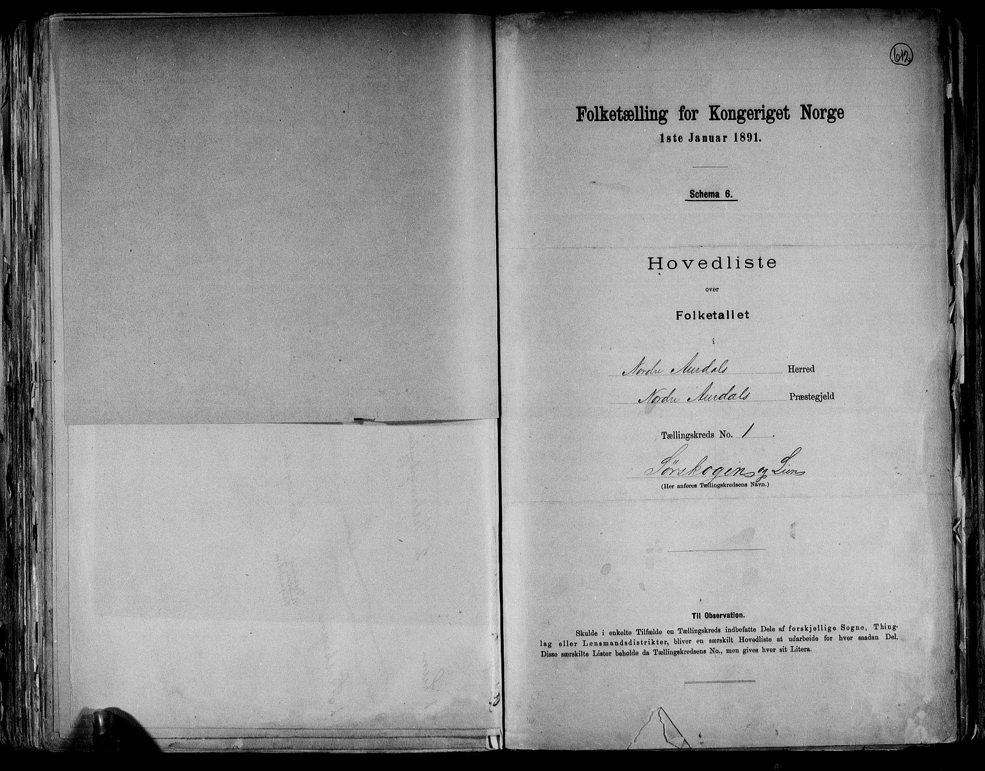 RA, Folketelling 1891 for 0542 Nord-Aurdal herred, 1891, s. 6