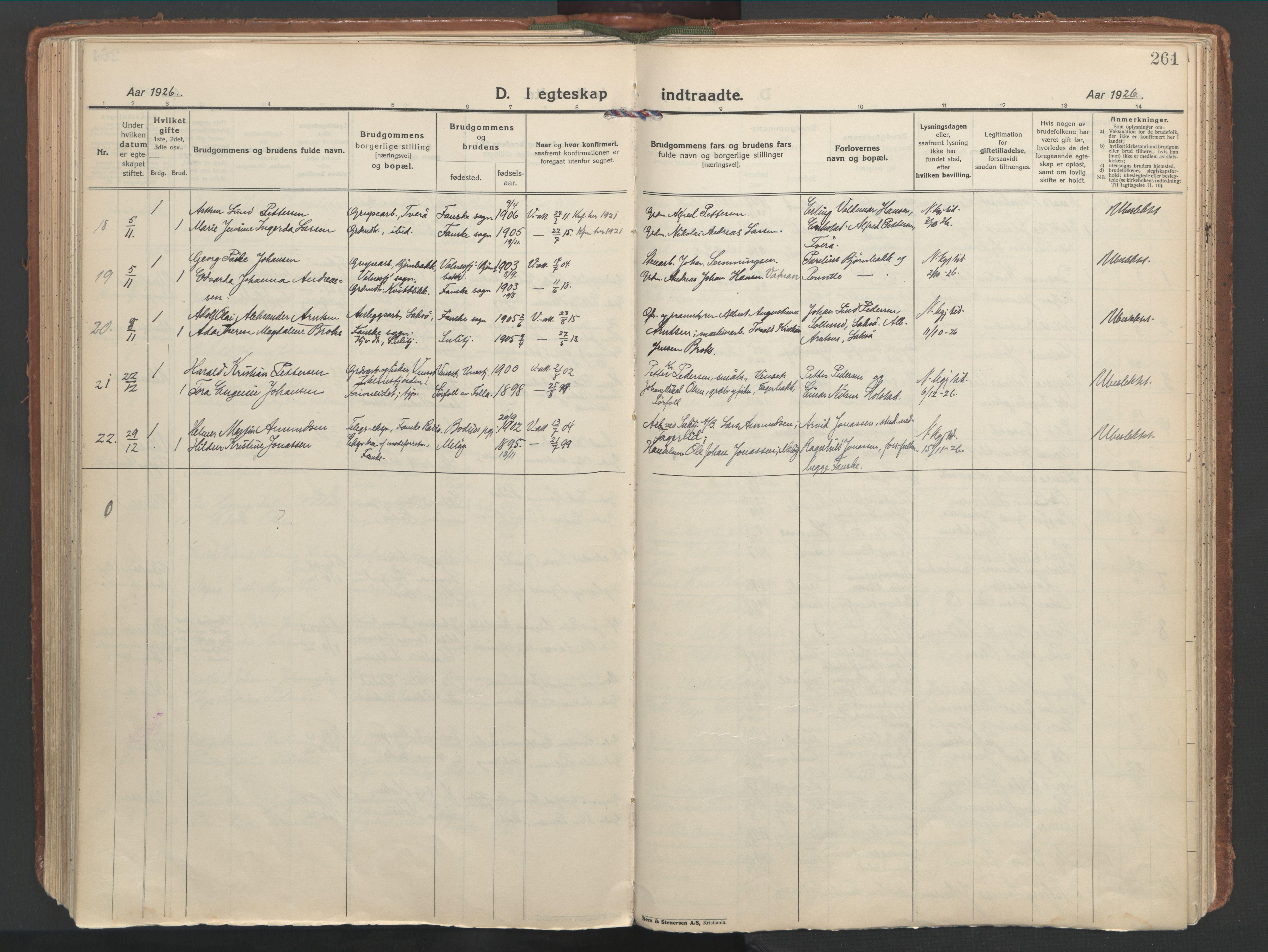 SAT, Ministerialprotokoller, klokkerbøker og fødselsregistre - Nordland, 849/L0699: Ministerialbok nr. 849A10, 1924-1937, s. 261