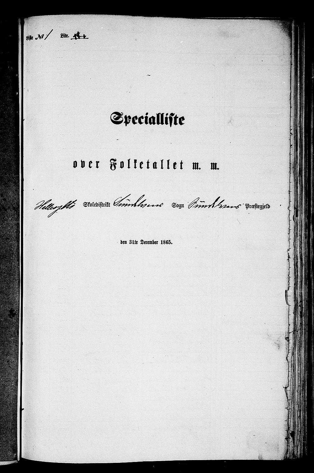 RA, Folketelling 1865 for 1523P Sunnylven prestegjeld, 1865, s. 6