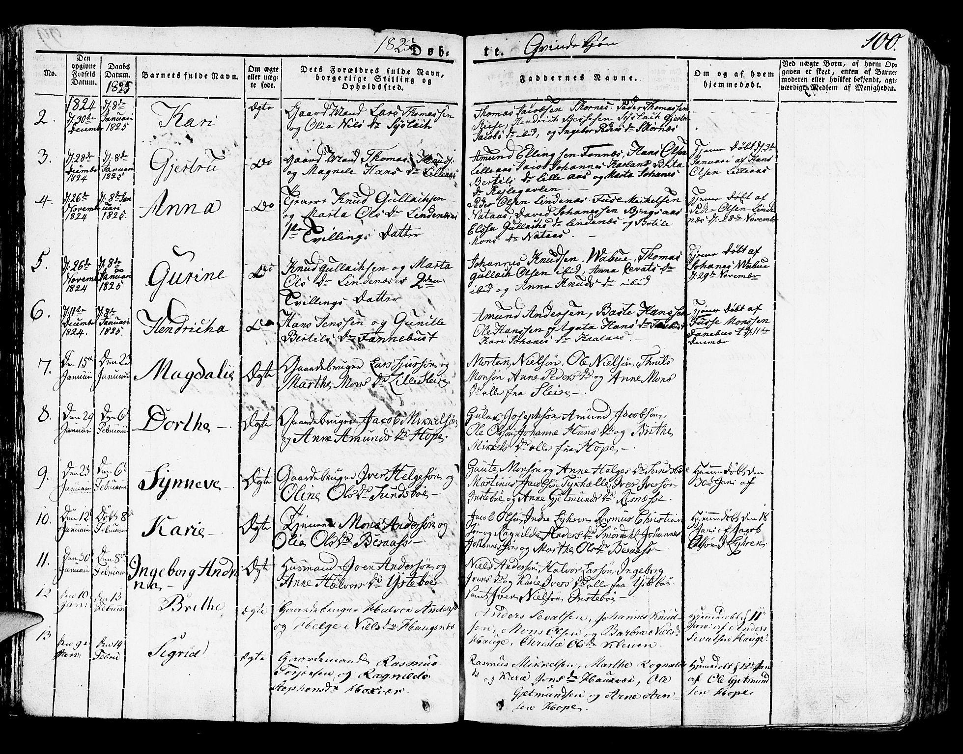 SAB, Lindås Sokneprestembete, H/Haa: Ministerialbok nr. A 8, 1823-1836, s. 100