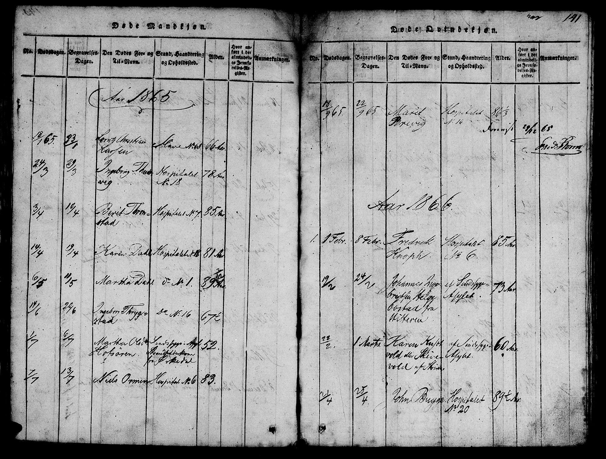 SAT, Ministerialprotokoller, klokkerbøker og fødselsregistre - Sør-Trøndelag, 623/L0478: Klokkerbok nr. 623C01, 1815-1873, s. 141