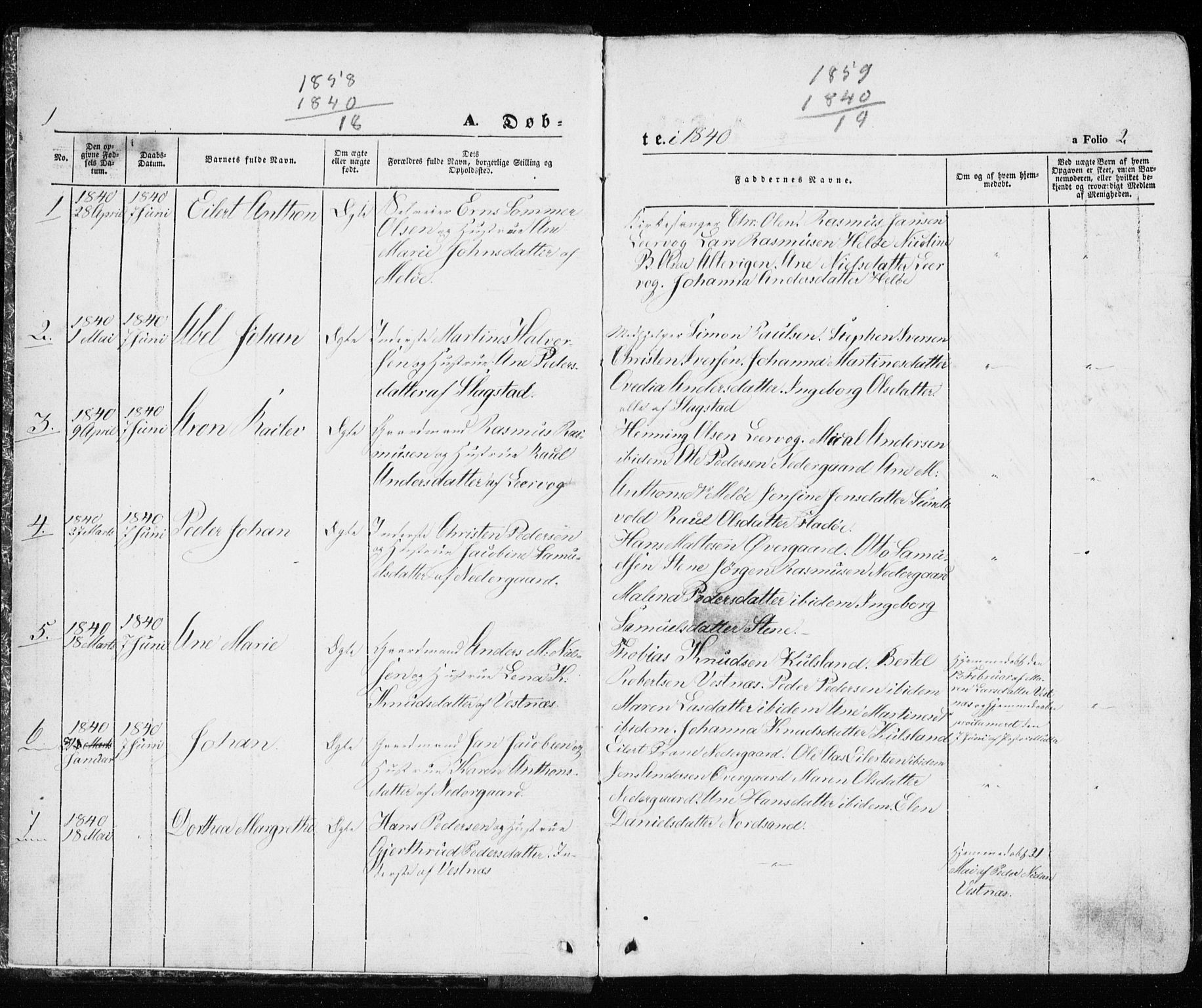 SATØ, Trondenes sokneprestkontor, H/Ha/L0010kirke: Ministerialbok nr. 10, 1840-1865, s. 1-2