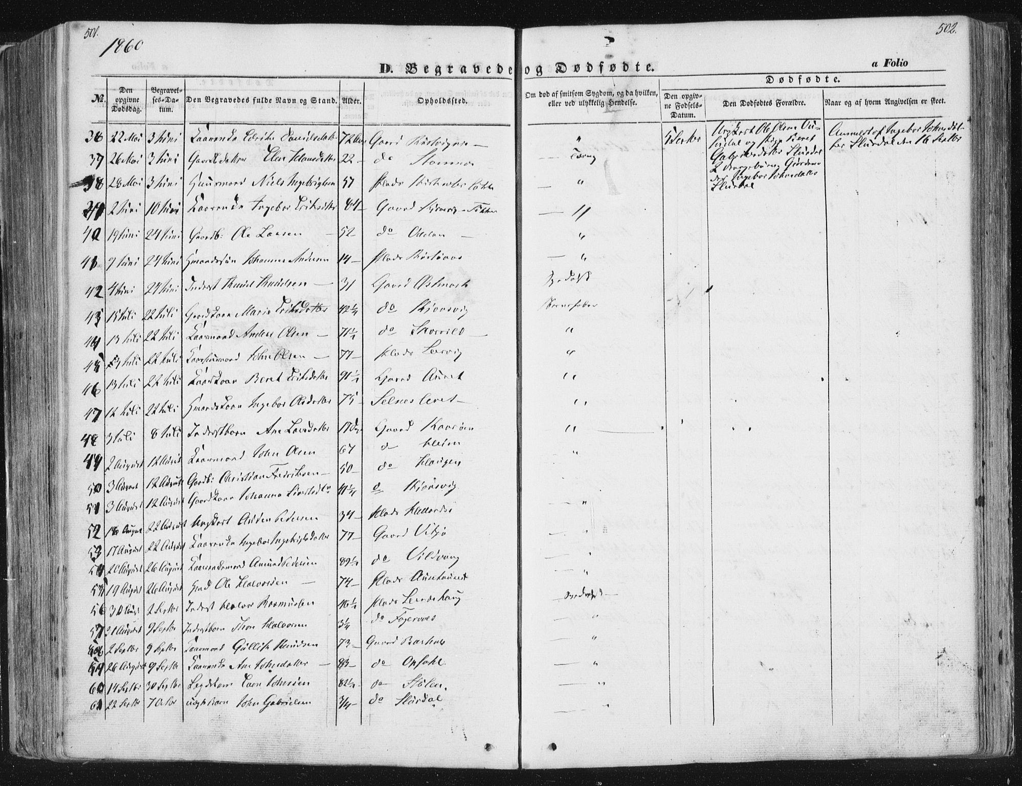 SAT, Ministerialprotokoller, klokkerbøker og fødselsregistre - Sør-Trøndelag, 630/L0494: Ministerialbok nr. 630A07, 1852-1868, s. 501-502