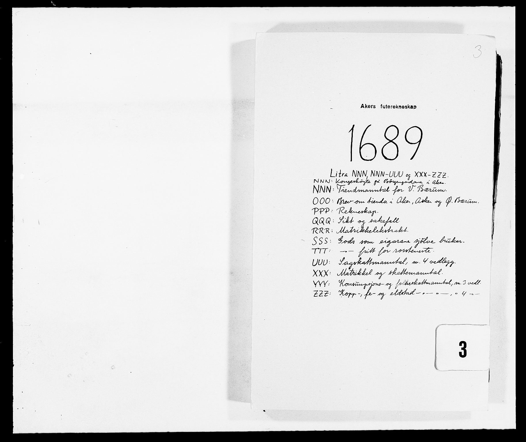 RA, Rentekammeret inntil 1814, Reviderte regnskaper, Fogderegnskap, R08/L0423: Fogderegnskap Aker, 1687-1689, s. 1