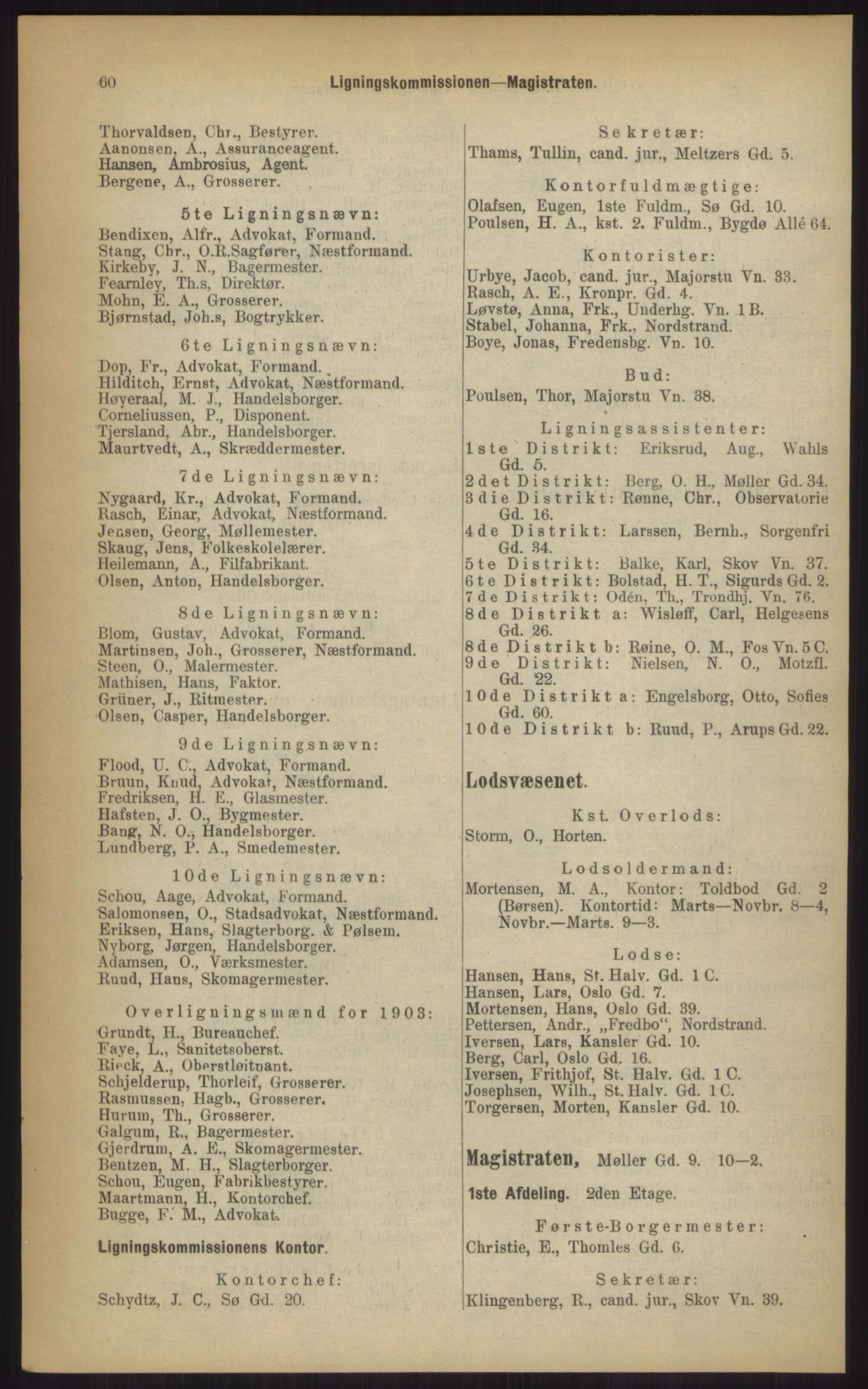 RA, Kristiania adressebok (publikasjon)*, 1903, s. 60
