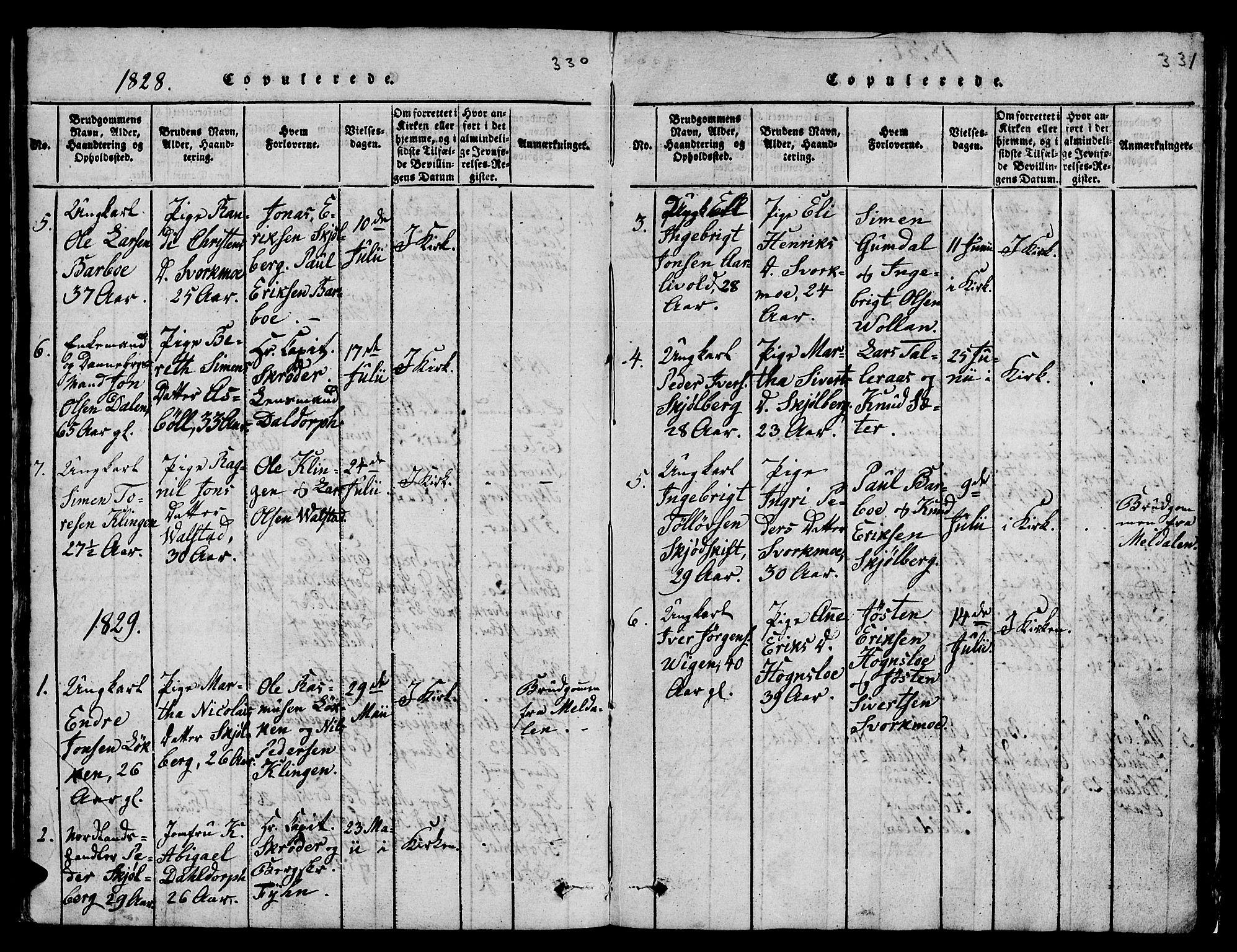 SAT, Ministerialprotokoller, klokkerbøker og fødselsregistre - Sør-Trøndelag, 671/L0842: Klokkerbok nr. 671C01, 1816-1867, s. 330-331