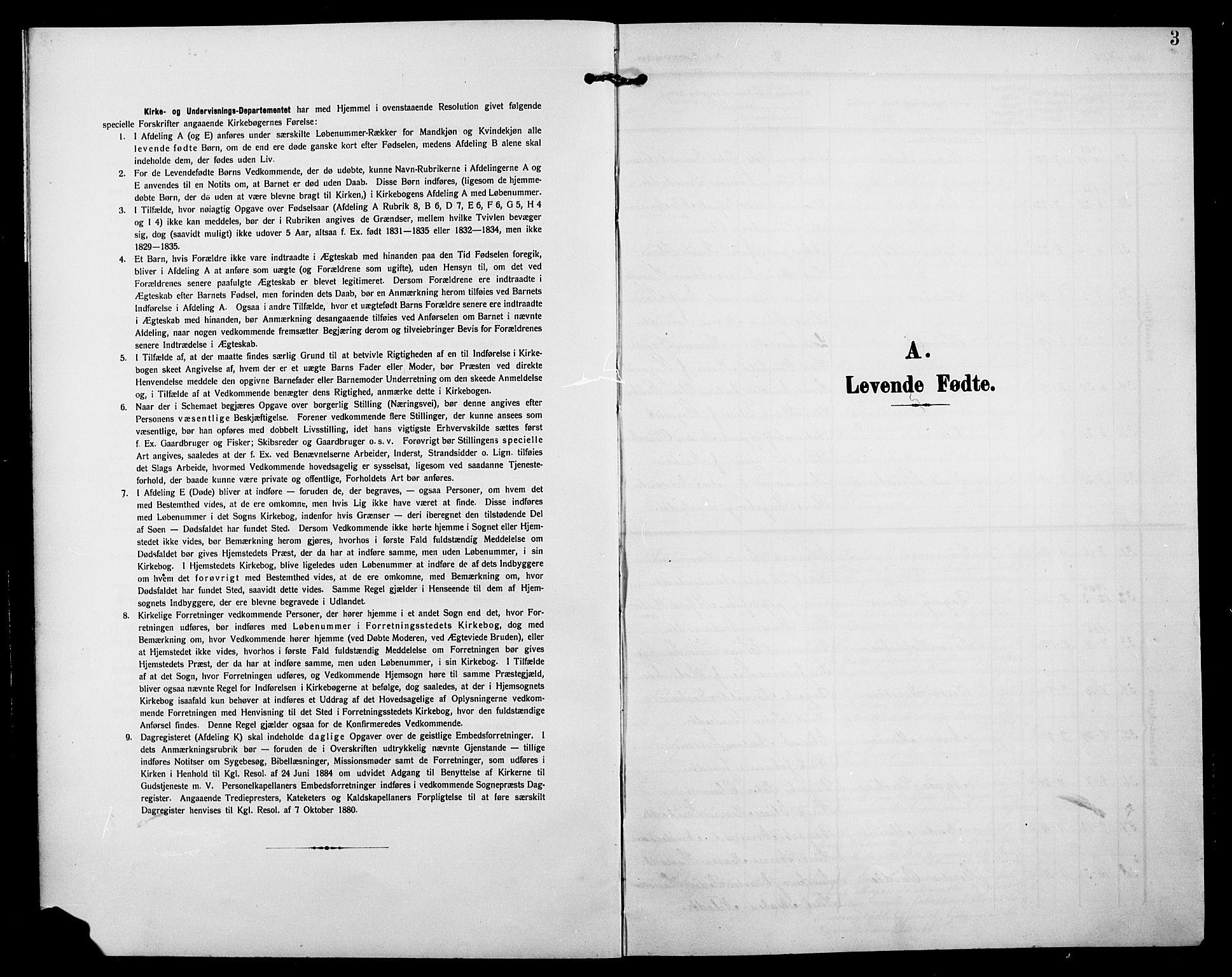 SAH, Jevnaker prestekontor, Klokkerbok nr. 4, 1907-1918, s. 3