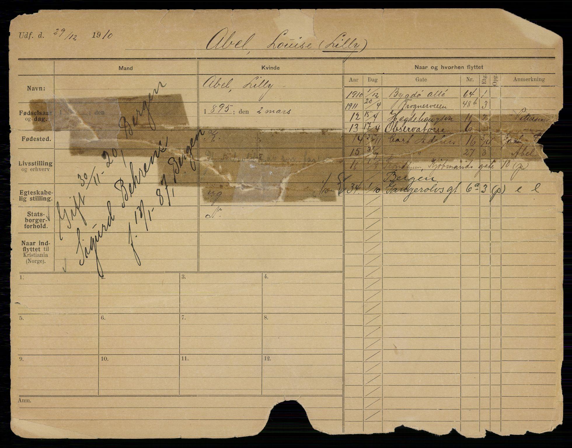 SAO, Oslo folkeregister, Registerkort, K/Kb/L0038: A - HAN, 1920