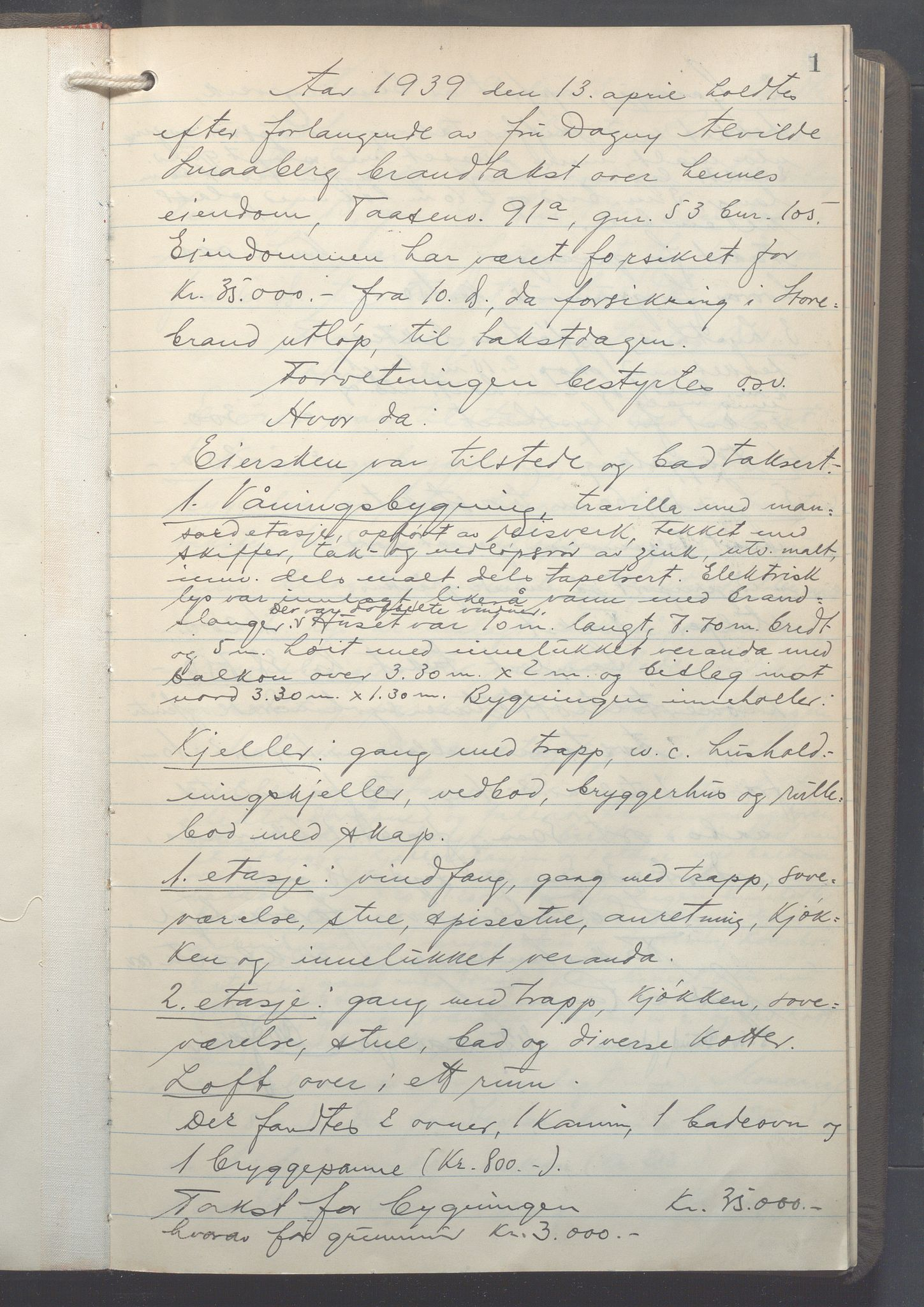 OBA, Lensmennene i Aker, F/Fa/L0027: Branntakstprotokoll, 1939-1941, s. 1