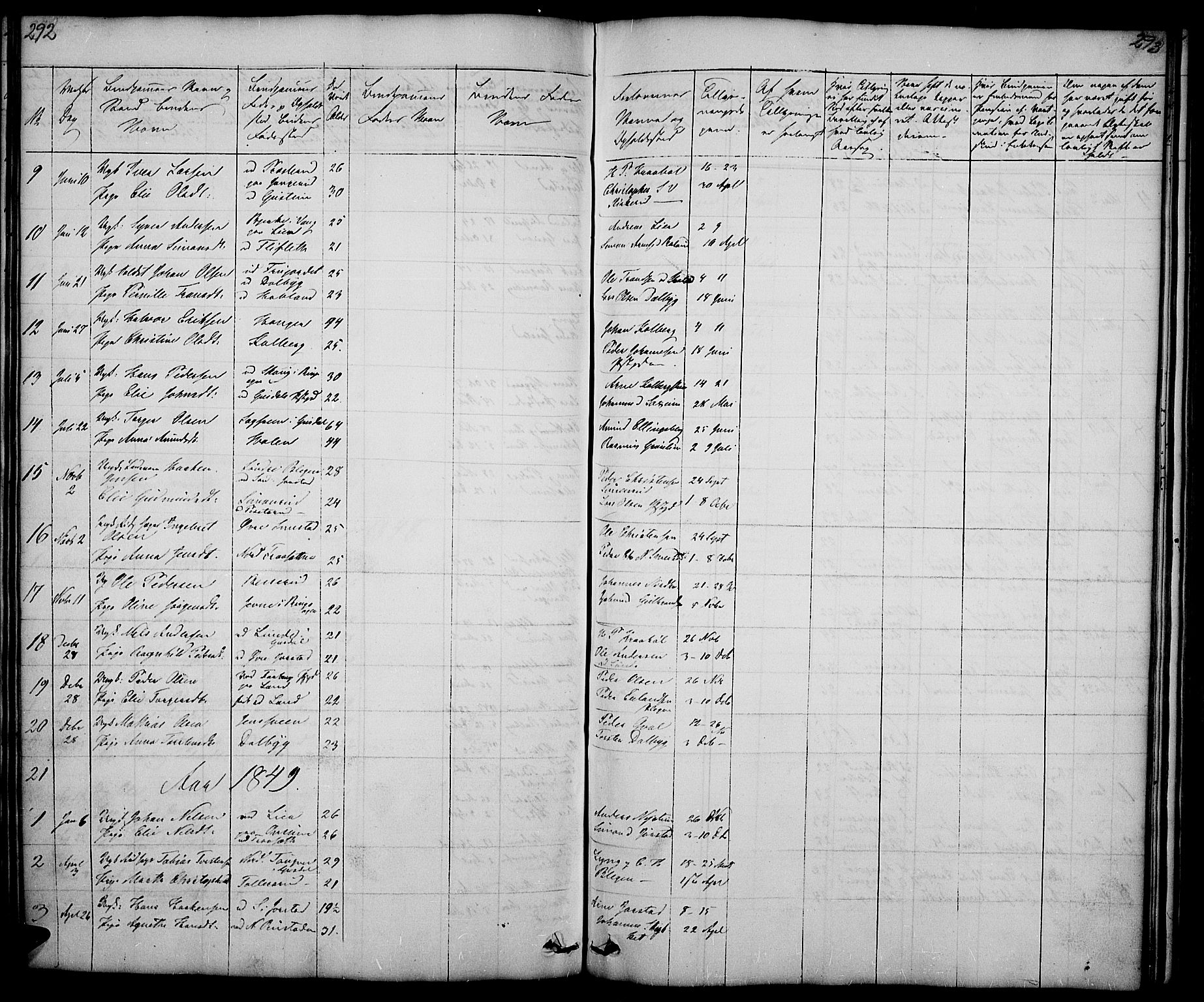 SAH, Fåberg prestekontor, Klokkerbok nr. 5, 1837-1864, s. 292-293