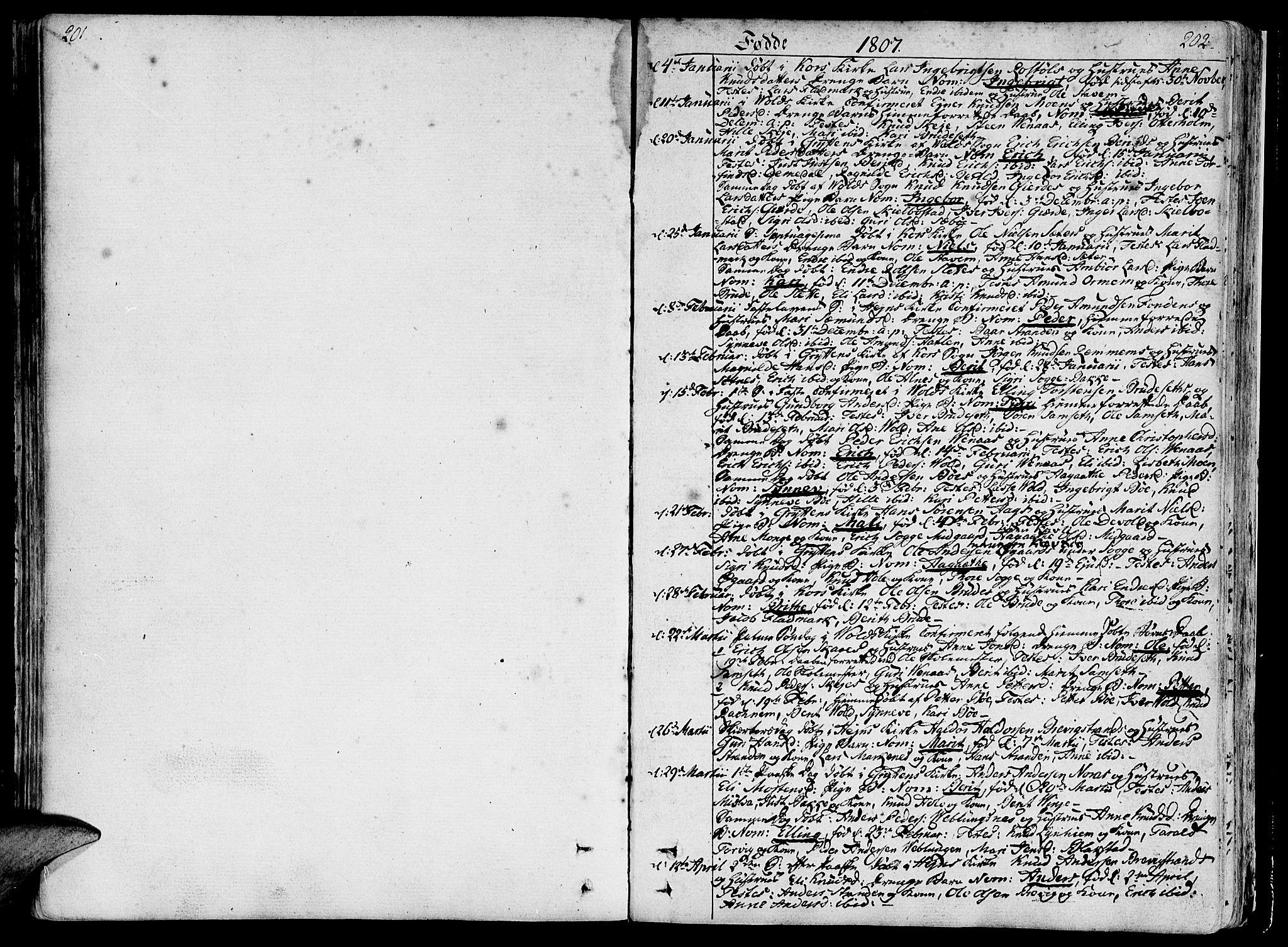 SAT, Ministerialprotokoller, klokkerbøker og fødselsregistre - Møre og Romsdal, 544/L0570: Ministerialbok nr. 544A03, 1807-1817, s. 201-202