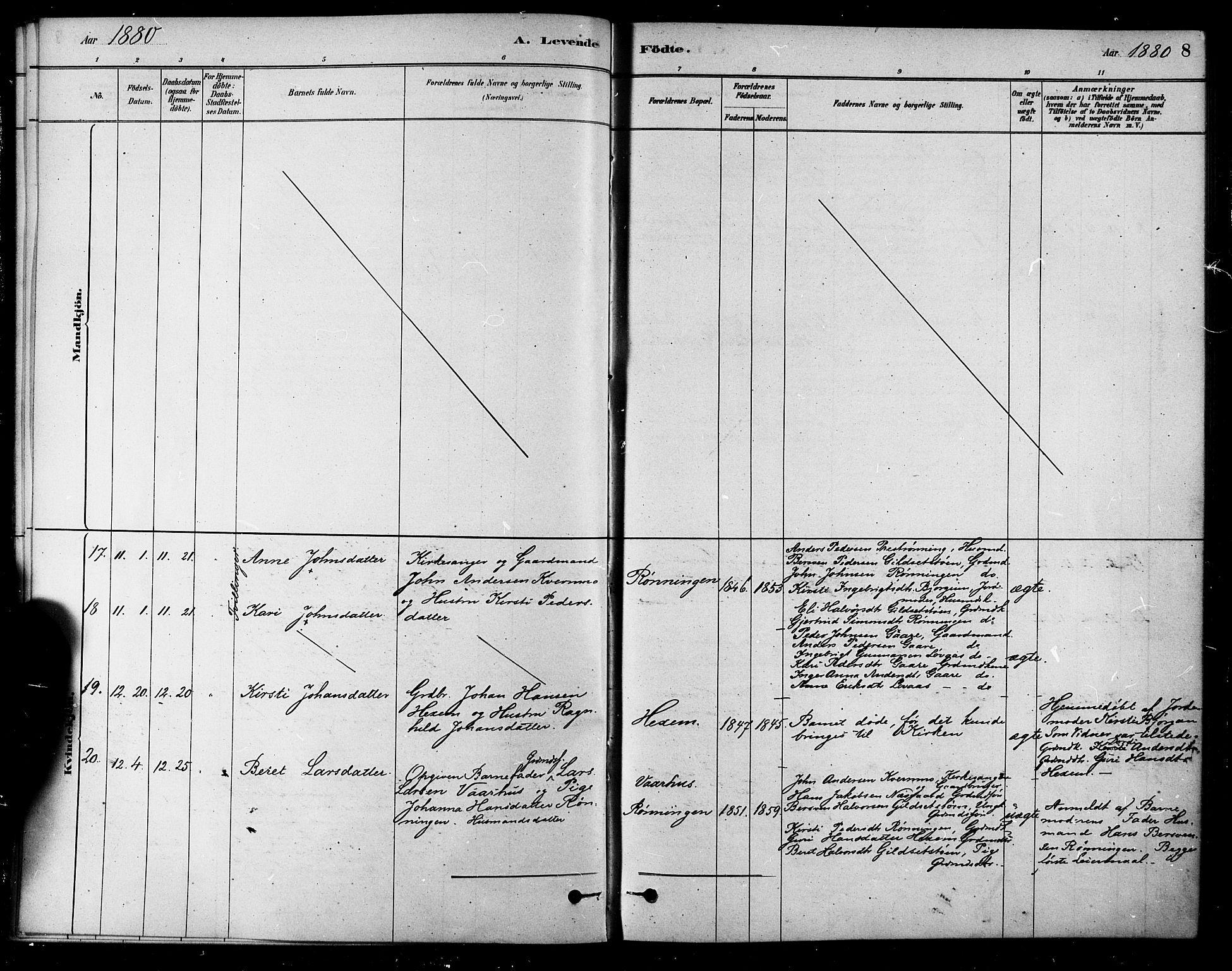 SAT, Ministerialprotokoller, klokkerbøker og fødselsregistre - Sør-Trøndelag, 685/L0972: Ministerialbok nr. 685A09, 1879-1890, s. 8
