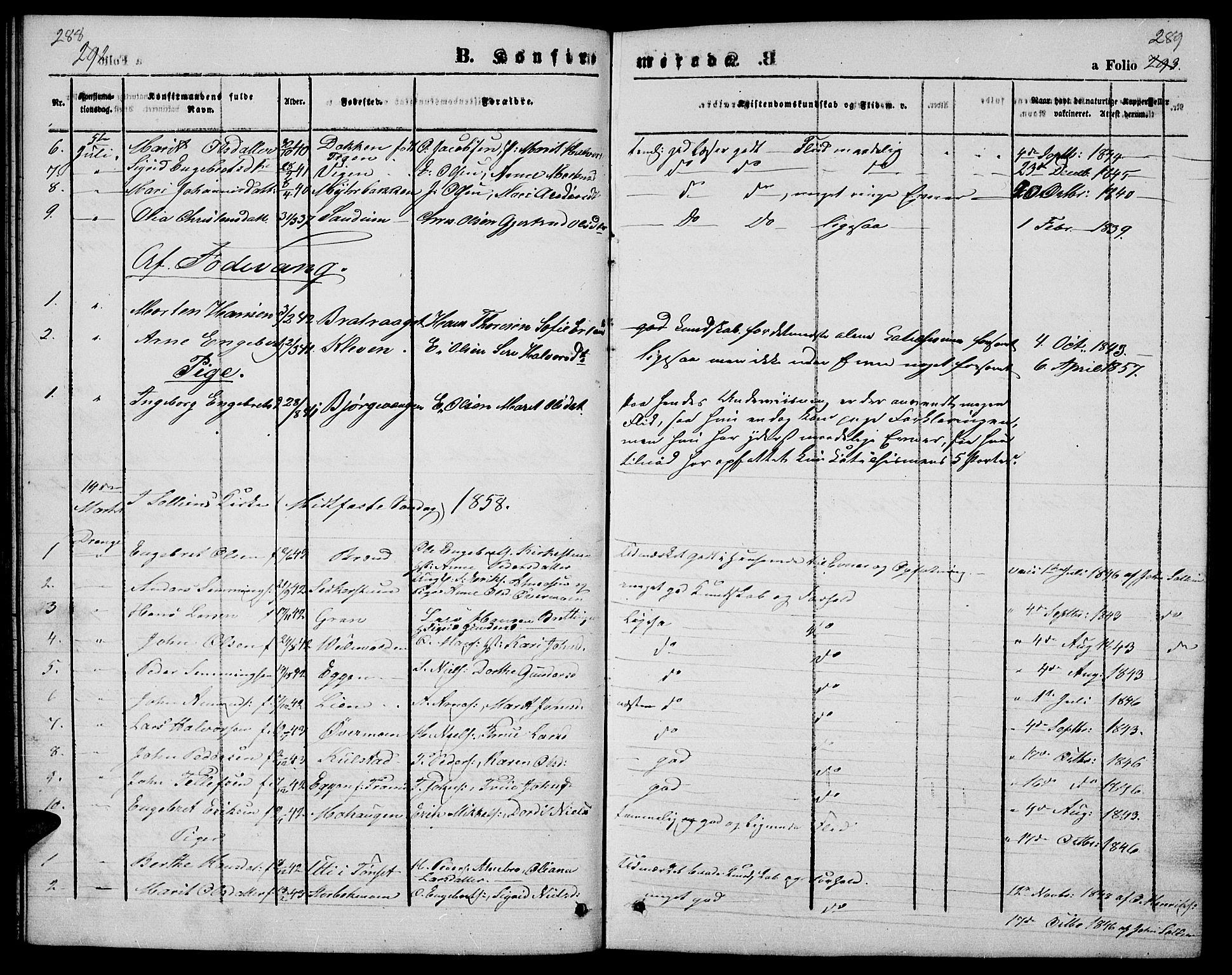 SAH, Ringebu prestekontor, Klokkerbok nr. 3, 1854-1866, s. 288-289