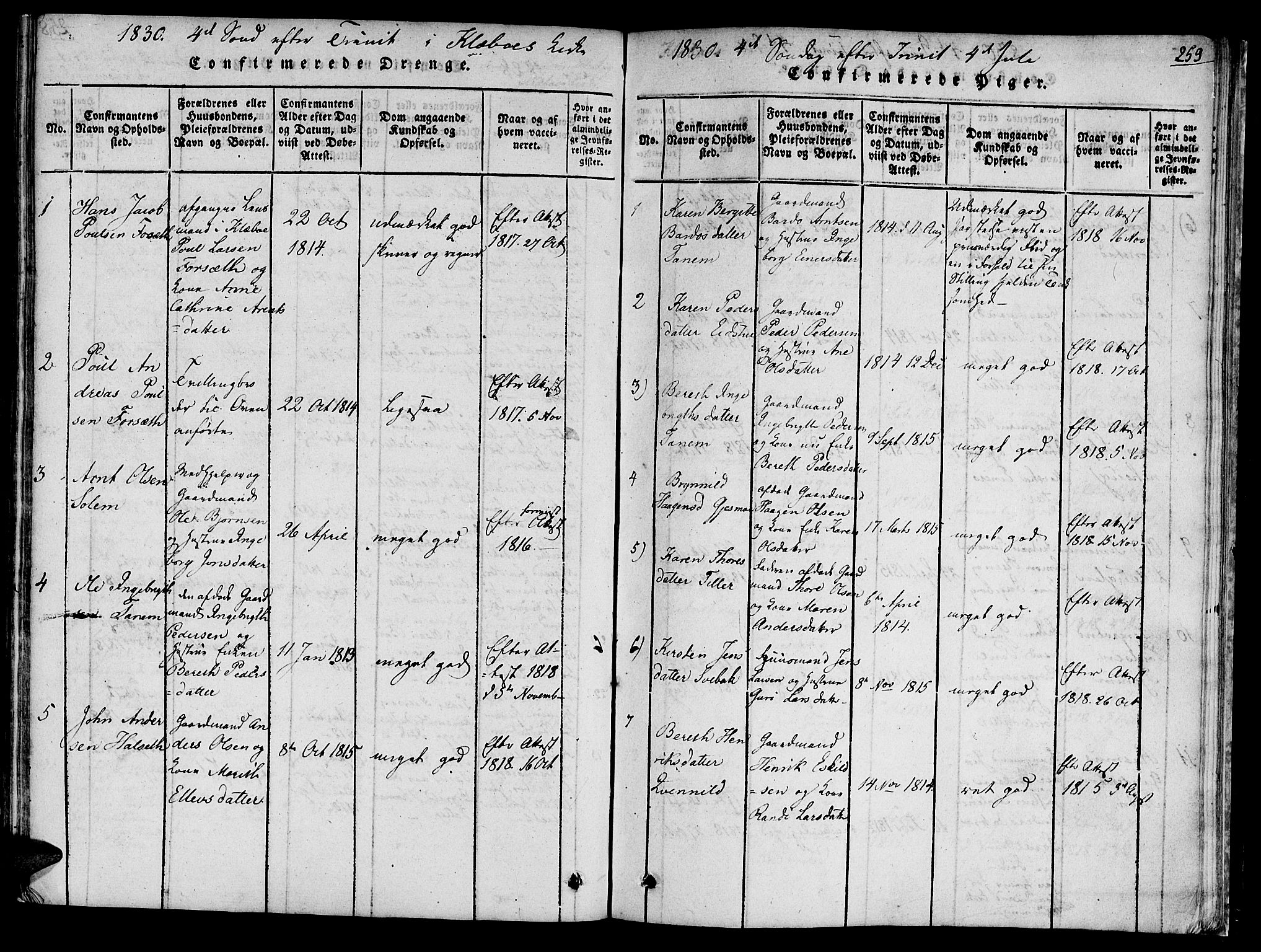 SAT, Ministerialprotokoller, klokkerbøker og fødselsregistre - Sør-Trøndelag, 618/L0439: Ministerialbok nr. 618A04 /1, 1816-1843, s. 259
