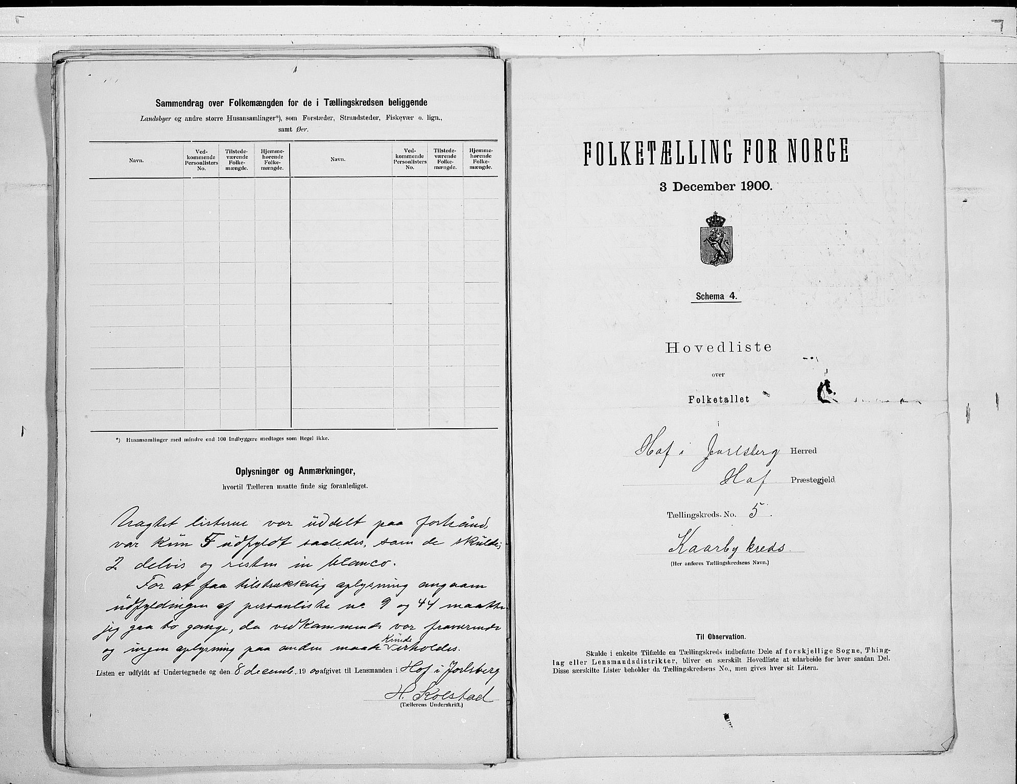 RA, Folketelling 1900 for 0714 Hof herred, 1900, s. 14
