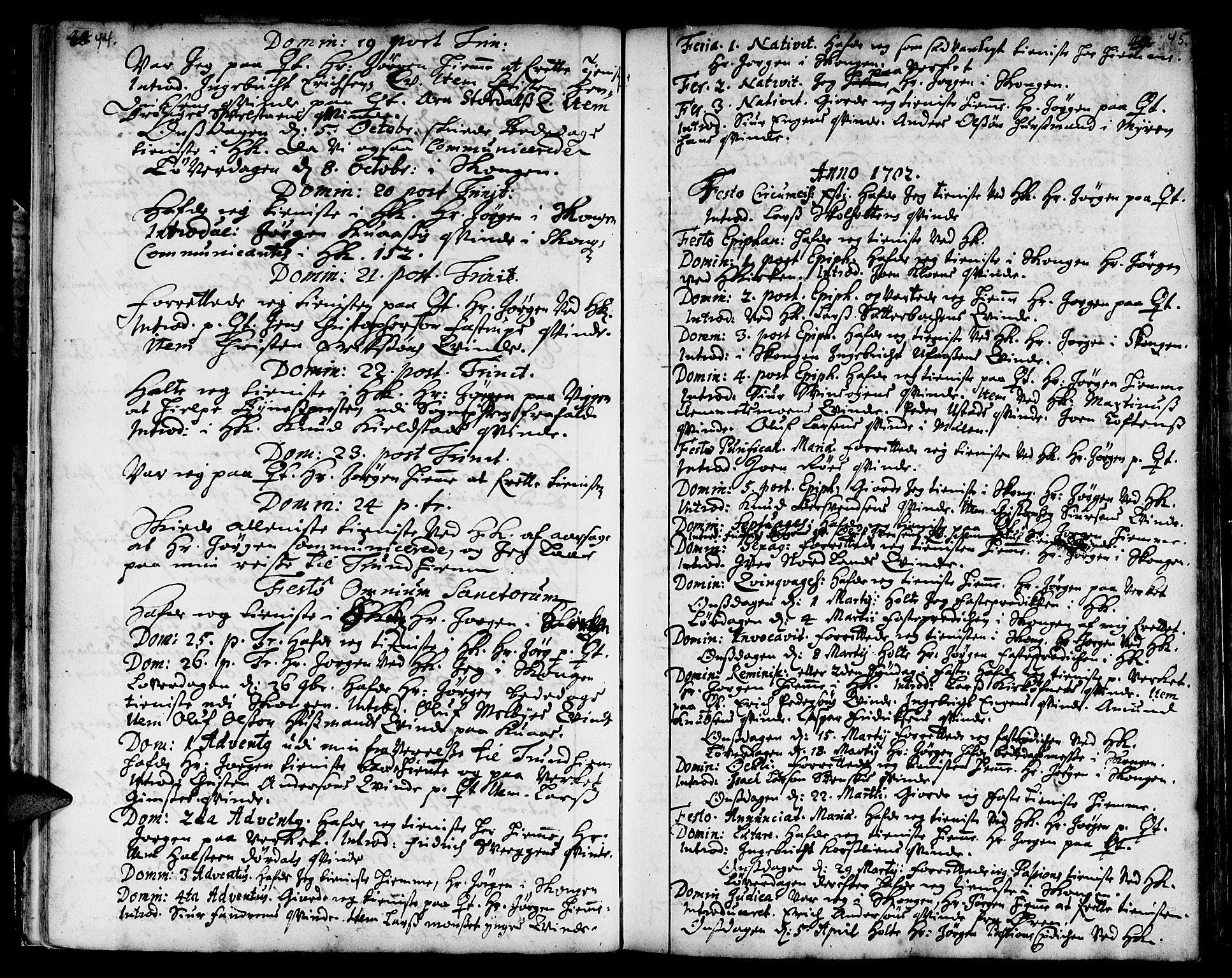 SAT, Ministerialprotokoller, klokkerbøker og fødselsregistre - Sør-Trøndelag, 668/L0801: Ministerialbok nr. 668A01, 1695-1716, s. 44-45