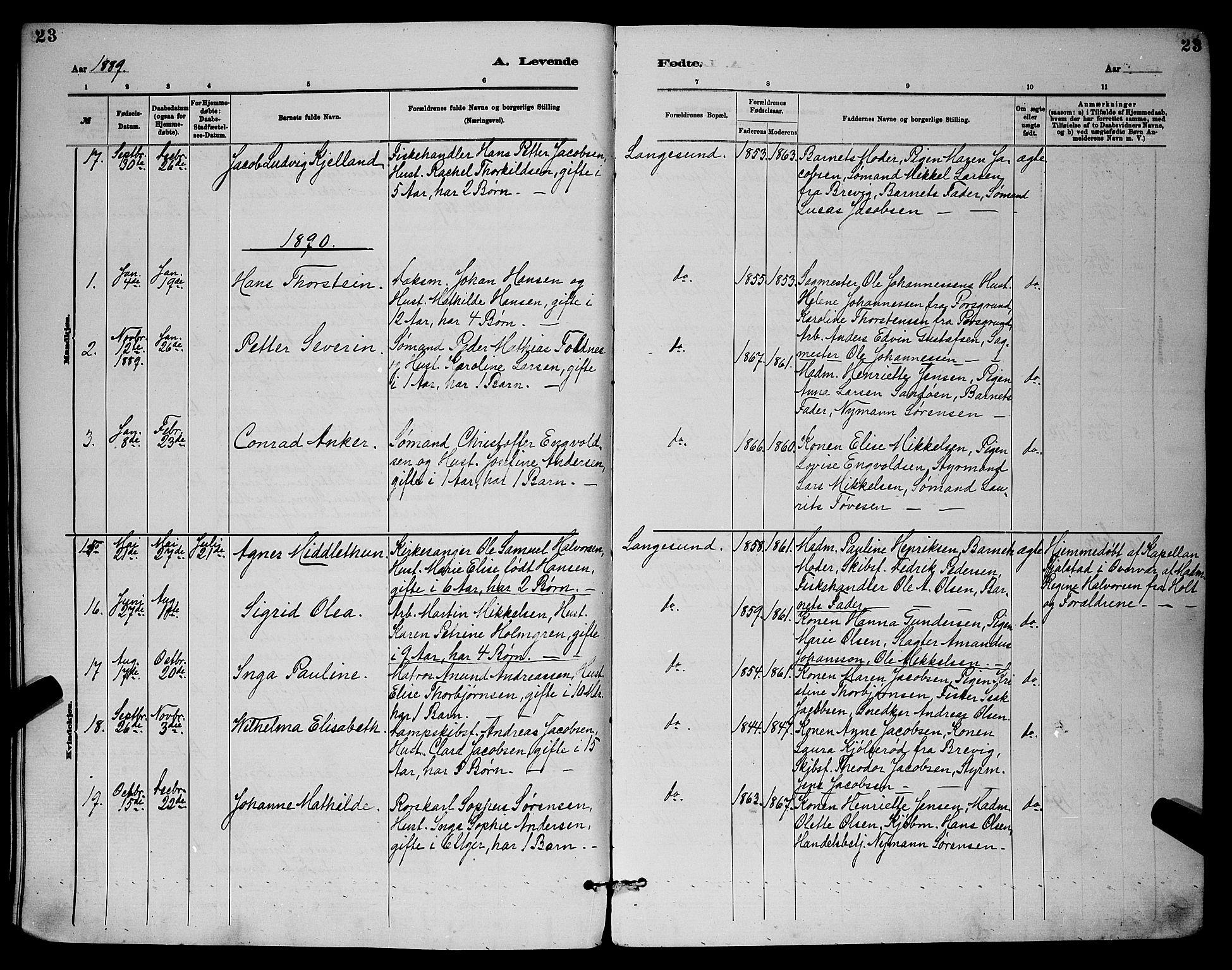 SAKO, Langesund kirkebøker, G/Ga/L0005: Klokkerbok nr. 5, 1884-1898, s. 23