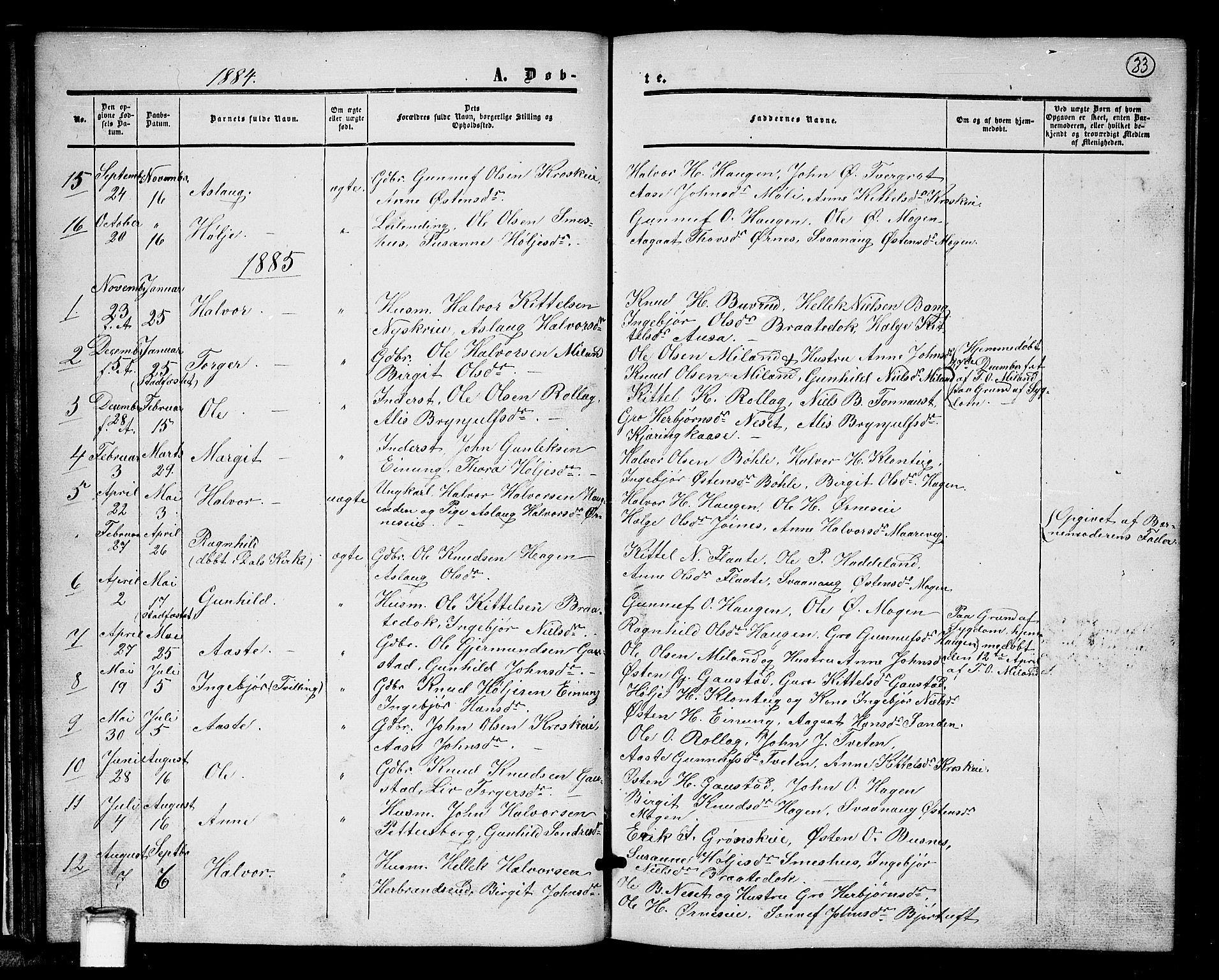 SAKO, Tinn kirkebøker, G/Gb/L0002: Klokkerbok nr. II 2, 1851-1886, s. 33