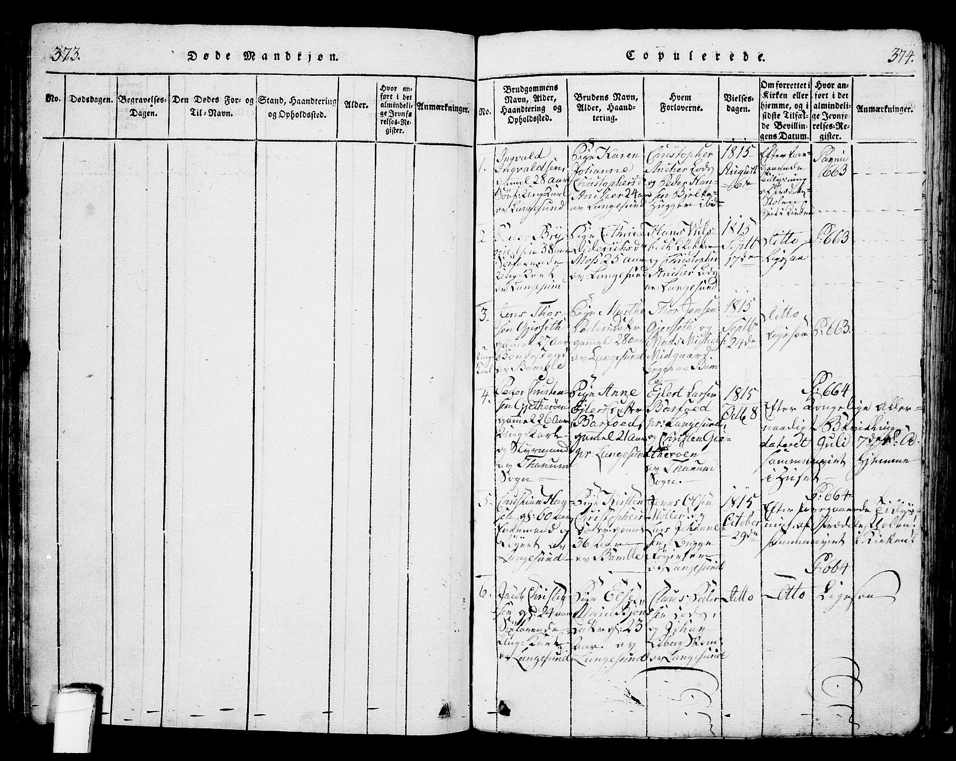 SAKO, Langesund kirkebøker, G/Ga/L0003: Klokkerbok nr. 3, 1815-1858, s. 373-374